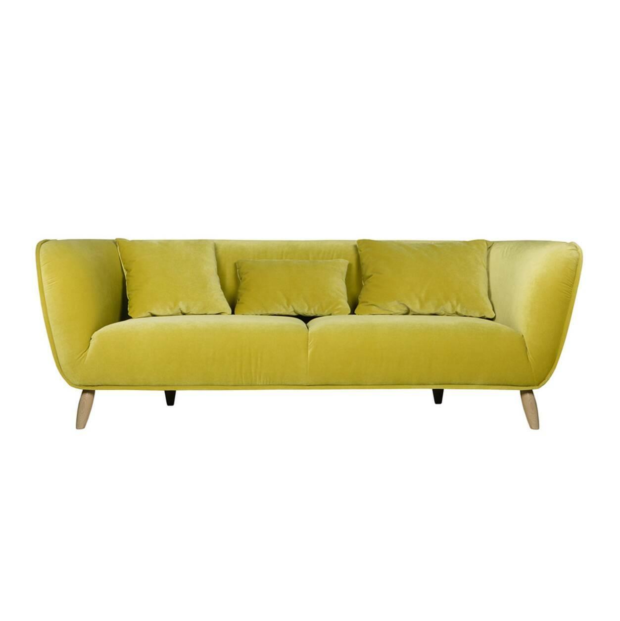 Диван Maja длина 190Двухместные<br>Яркий и позитивный дизайн дивана Maja длина 190 с первого взгляда привлекает внимание. Это дизайнерское изделие обладает особым шармом и положительным настроением, которое непременно повлияет на общую атмосферу помещения и которое способно стать центром всего комнатного интерьера. А диванные подушки также добавят особую нотку уюта в общую обстановку комнаты.<br><br><br> Обивка дивана изготовлена из прочного высококачественного вельвета. Эта ткань обладает привлекательной и очень приятной на ощ...<br><br>stock: 0<br>Высота: 76<br>Высота сиденья: 42<br>Глубина: 100<br>Длина: 190<br>Цвет ножек: Черный<br>Материал обивки: Полиэстер<br>Степень комфортности: Стандарт комфорт<br>Форма подлокотников: Стандарт<br>Коллекция ткани: Категория ткани III<br>Тип материала обивки: Ткань<br>Тип материала ножек: Металл<br>Цвет обивки: Желтый