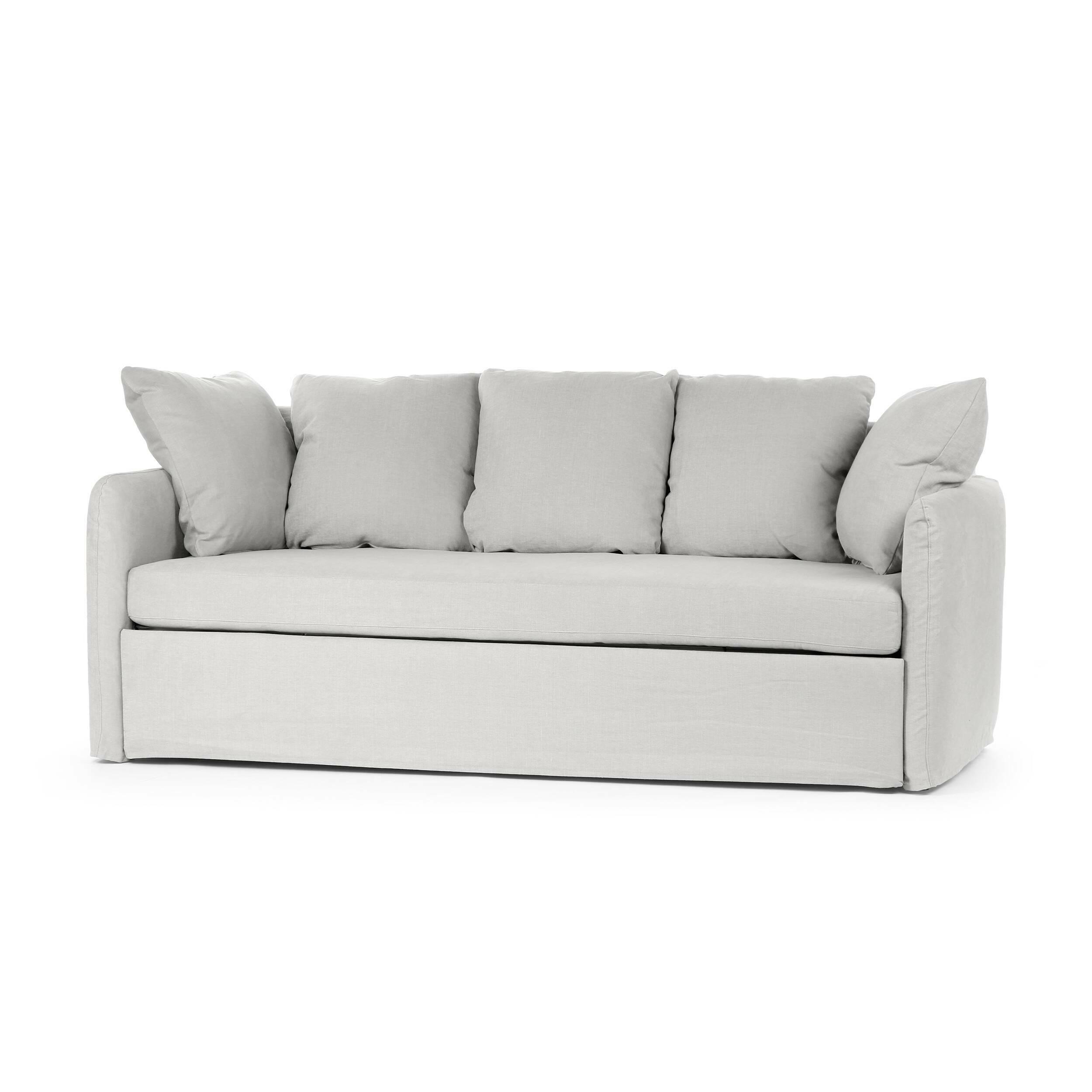 Диван LottaРаскладные<br>Простое, но необычайно милое и очаровательное изделие, этот диван может преобразить любое помещение и привнести в него нотку тепла и домашнего уюта. Диван Lotta оснащен множеством мягких пузатых подушек, которые делают его еще более приветливым, а общую атмосферу — более дружелюбной. Диван обладает мягкими, плавными чертами и формой, имеет небольшие размеры, что особенно подойдет для небольших комнат.<br><br><br> Обивка изделия изготовлена из высококачественной, износостойкой и очень приятной ...<br><br>stock: 0<br>Высота: 90<br>Высота сиденья: 47<br>Глубина: 100<br>Длина: 210<br>Материал обивки: Хлопок, Лен<br>Степень комфортности: Стандарт комфорт<br>Коллекция ткани: Категория ткани II<br>Тип материала обивки: Ткань<br>Размер спального места (см): 185х162<br>Цвет обивки: Светло-серый
