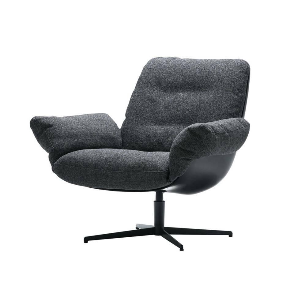 Кресло SoftbirdИнтерьерные<br>Дизайнерское кресло Softbird сделано просто и со вкусом. Оно отличается отсутствием лишних деталей и элементов декора, спокойной цветовой гаммой и необычайно уютной, мягкой и комфортной формой. Все линии кресла очень мягкие и плавные, спинка словно перетекает в удобное сиденье и широкие подлокотники. Кресло имеет очень глубокое сиденье, что способствует полному расслаблению и замечательному отдыху.<br><br><br> Обивка кресла отличается своей мягкостью — она изготовлена из приятной на ощупь проч...<br><br>stock: 0<br>Высота: 87<br>Высота сиденья: 46<br>Ширина: 73<br>Глубина: 86<br>Цвет ножек: Черный<br>Механизмы: Поворотная функция<br>Материал обивки: Полипропилен, Полиэстер, Хлопок<br>Тип материала каркаса: Стеклопластик<br>Коллекция ткани: Категория ткани III<br>Тип материала обивки: Ткань<br>Тип материала ножек: Сталь<br>Цвет обивки: Темно-серый<br>Цвет каркаса: Черный
