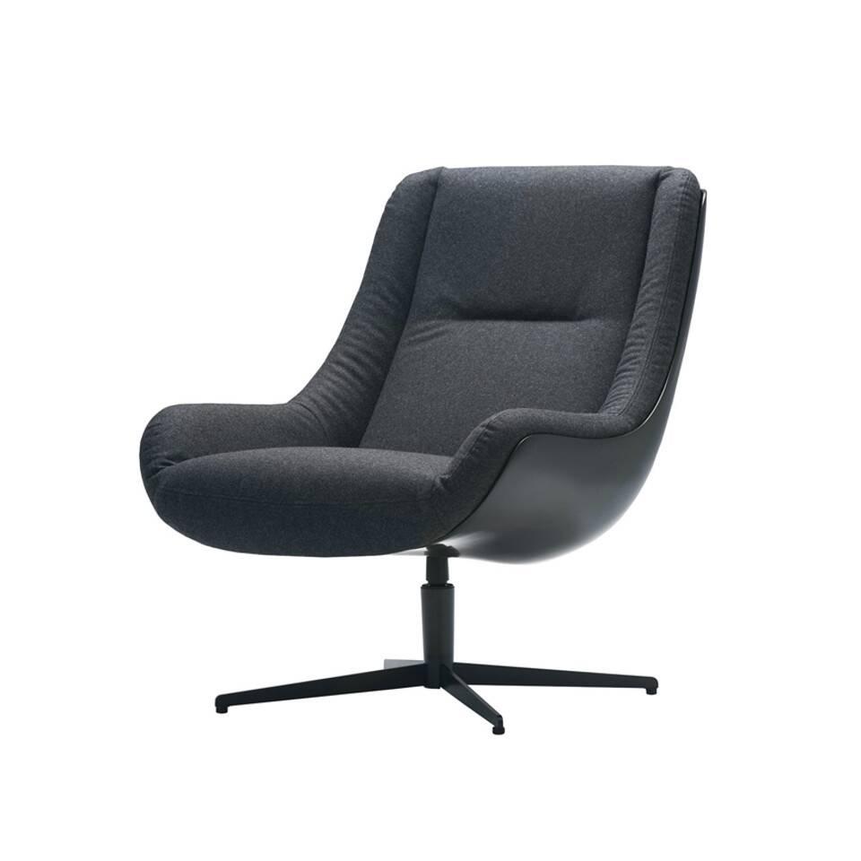 Кресло LovebirdИнтерьерные<br>Дизайнерское кресло Lovebird обладает простым, но элегантным классическим дизайном. Этот стиль отличается утонченной роскошью всех элементов, умеренным количеством деталей и элементов декора, ограниченной цветовой палитрой и необычайным комфортом. Кресло Lovebird гармонично сочетает в себе все эти качества и позволит вам насладиться уютом и комфортным отдыхом как в рабочее время, так и во время дружеской беседы за чашечкой кофе или же чтением любимой книги.<br><br><br> На выбор предлагается не...<br><br>stock: 0<br>Высота: 87<br>Высота сиденья: 41<br>Ширина: 73<br>Глубина: 89<br>Цвет ножек: Черный<br>Механизмы: Поворотная функция<br>Материал обивки: Шерсть, Полиамид<br>Тип материала каркаса: Стеклопластик<br>Коллекция ткани: Категория ткани III<br>Тип материала обивки: Ткань<br>Тип материала ножек: Сталь<br>Цвет обивки: Темно-серый<br>Цвет каркаса: Черный
