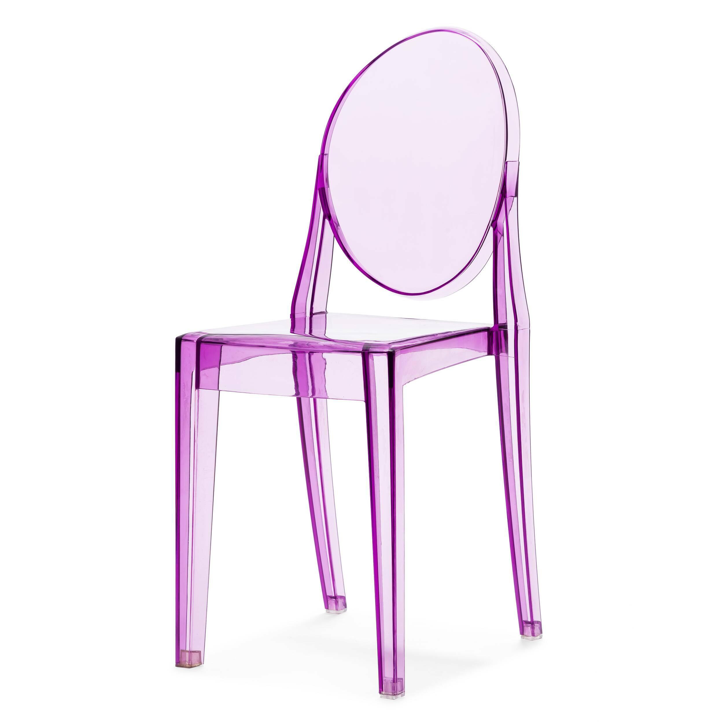 Стул Victoria GhostИнтерьерные<br>Дизайнерский прозрачный пластиковый стул Victoria Ghost (Виктория Гост) с подлокотниками от Cosmo (Космо).<br>Обращаясь к стилю рококо, господствовавшему во Франции в XVIII веке, французский промышленный дизайнер Филипп Старк в 2002 году разработал эти удобные современные стулья. Современность, черпающая вдохновение в стиле времен правления Людовика XV, удивляет и в то же время очаровывает. Оригинальные стулья Victoria Ghost от Филиппа Старка послужат элегантным дополнением вашего интерьера.<br><br>...<br><br>stock: 0<br>Высота: 90,5<br>Высота сиденья: 48,5<br>Ширина: 38,5<br>Глубина: 49,5<br>Материал каркаса: Поликарбонат<br>Тип материала каркаса: Пластик<br>Цвет каркаса: Фиолетовый прозрачный