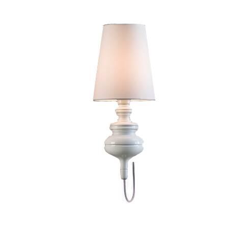 Настенный светильник JosephineНастенные<br>Эта стильная и очаровательная лампа была придумана испанским дизайнером Хайме Айоном. Настенный светильник Josephine, возможно, один из самых элегантных в коллекции. Его легкий корпус выполнен из металла и доступен в различных цветах.<br><br><br> Серия светильников Josephine состоит из нескольких вариантов: подвесные, настольные и настенные. Возможен белый, черный, серый или золотой цвет. При изготовлении черного или белого абажура используется ткань. Абажуры золотого и серого имеют металлизир...<br><br>stock: 0<br>Высота: 51<br>Диаметр: 20<br>Количество ламп: 1<br>Материал абажура: Ткань<br>Материал арматуры: Металл<br>Ламп в комплекте: Нет<br>Напряжение: 220<br>Тип лампы/цоколь: E27<br>Цвет абажура: Белый