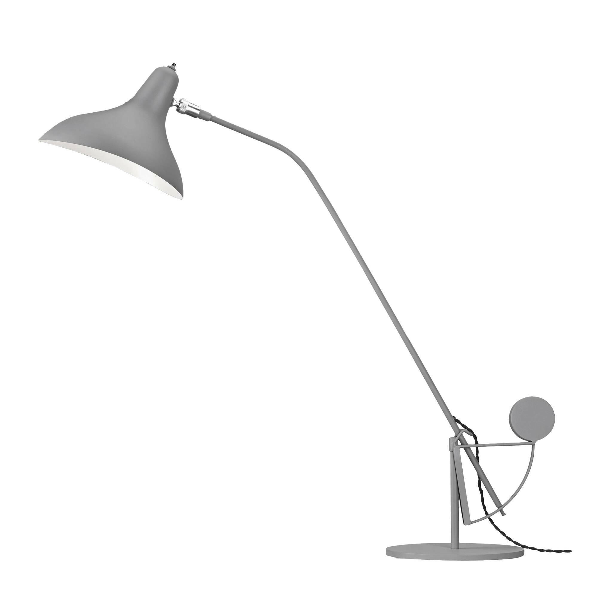 Настольный светильник MantisНастольные<br>Настольный светильник Mantis — это работа дизайнера Бернарда Шоттландера, которую он создал в 1951 году. Сам художник считает себя «дизайнером интерьеров и скульптором экстерьеров», поэтому его известный «богомол» (так переводится название светильника), может настраиваться по высоте и сгибу в зависимости от нужд владельца.<br><br><br> Настраиваемый функционал — одно из главных достоинств этого светильника. Очень удобно иметь возможность направить свет так, чтобы он падал под идеальным углом, ил...<br><br>stock: 0<br>Высота: 80<br>Длина: 63<br>Количество ламп: 1<br>Материал абажура: Алюминий<br>Материал арматуры: Сталь<br>Ламп в комплекте: Нет<br>Цвет абажура: Серый<br>Цвет арматуры: Серый<br>Цвет провода: Черный