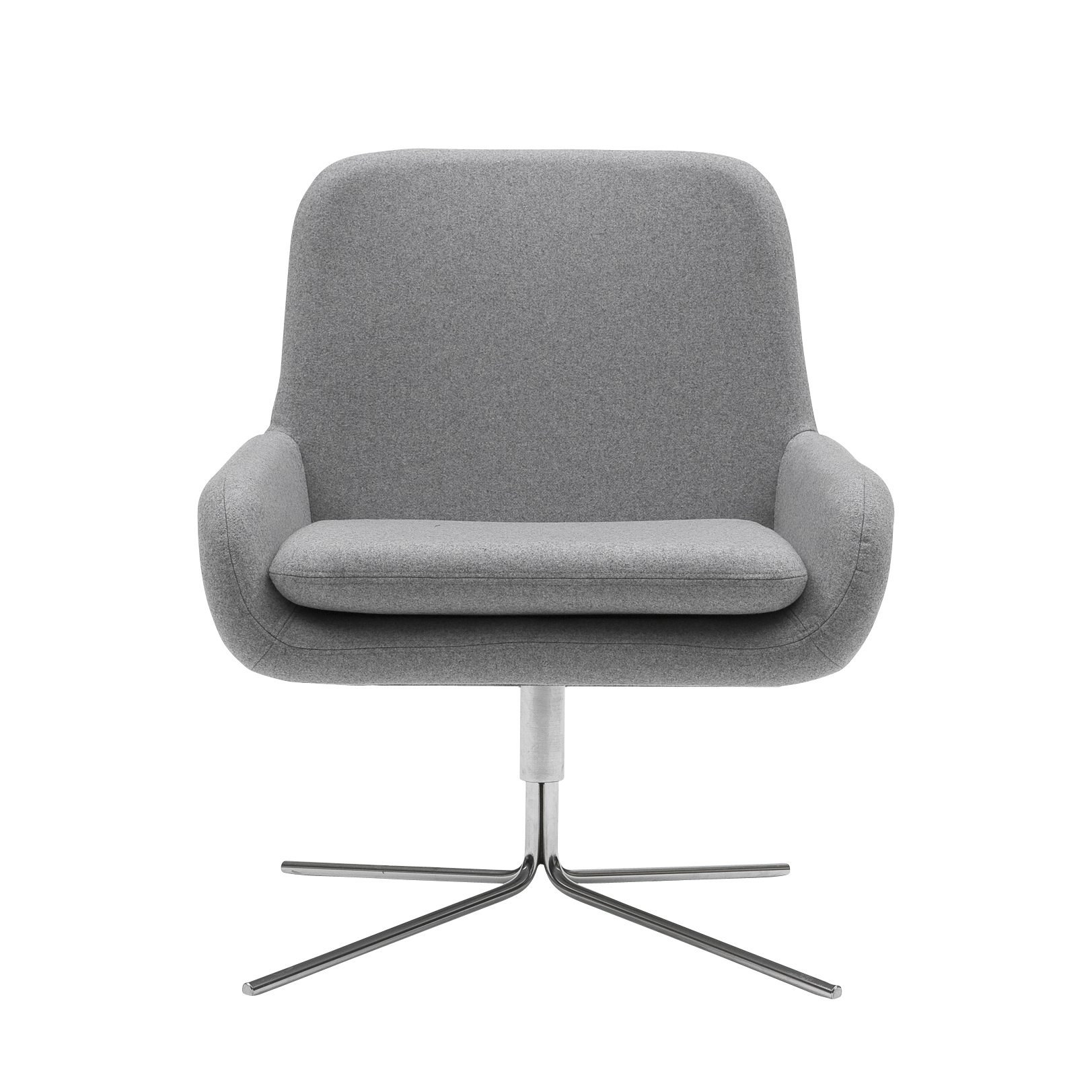 Кресло Coco SwivelИнтерьерные<br>Дизайнерское небольшое современное вращающееся кресло Coco Swivel (Коко Свивэл) из ткани на одной ножке от Softline (Софтлайн).<br><br>Кресло Coco Swivel — красивое и смелое кресло с минималистским, но очень динамичным дизайном. Это результат сотрудничества между Флеммингом Буском и Стефаном Б.Херцогом, датским коллективом дизайнеров, известными своими наградами в области дизайна мебели.<br><br><br><br> <br><br><br> Оригинальное кресло Coco Swivel от компании Softline — это выбор для активных и жизнерадостны...<br><br>stock: 0<br>Высота: 76<br>Высота сиденья: 40<br>Ширина: 65<br>Глубина: 73<br>Цвет ножек: Хром<br>Механизмы: Поворотная функция<br>Материал обивки: Шерсть, Полиамид<br>Коллекция ткани: Felt<br>Тип материала обивки: Ткань<br>Тип материала ножек: Металл<br>Цвет обивки: Серый