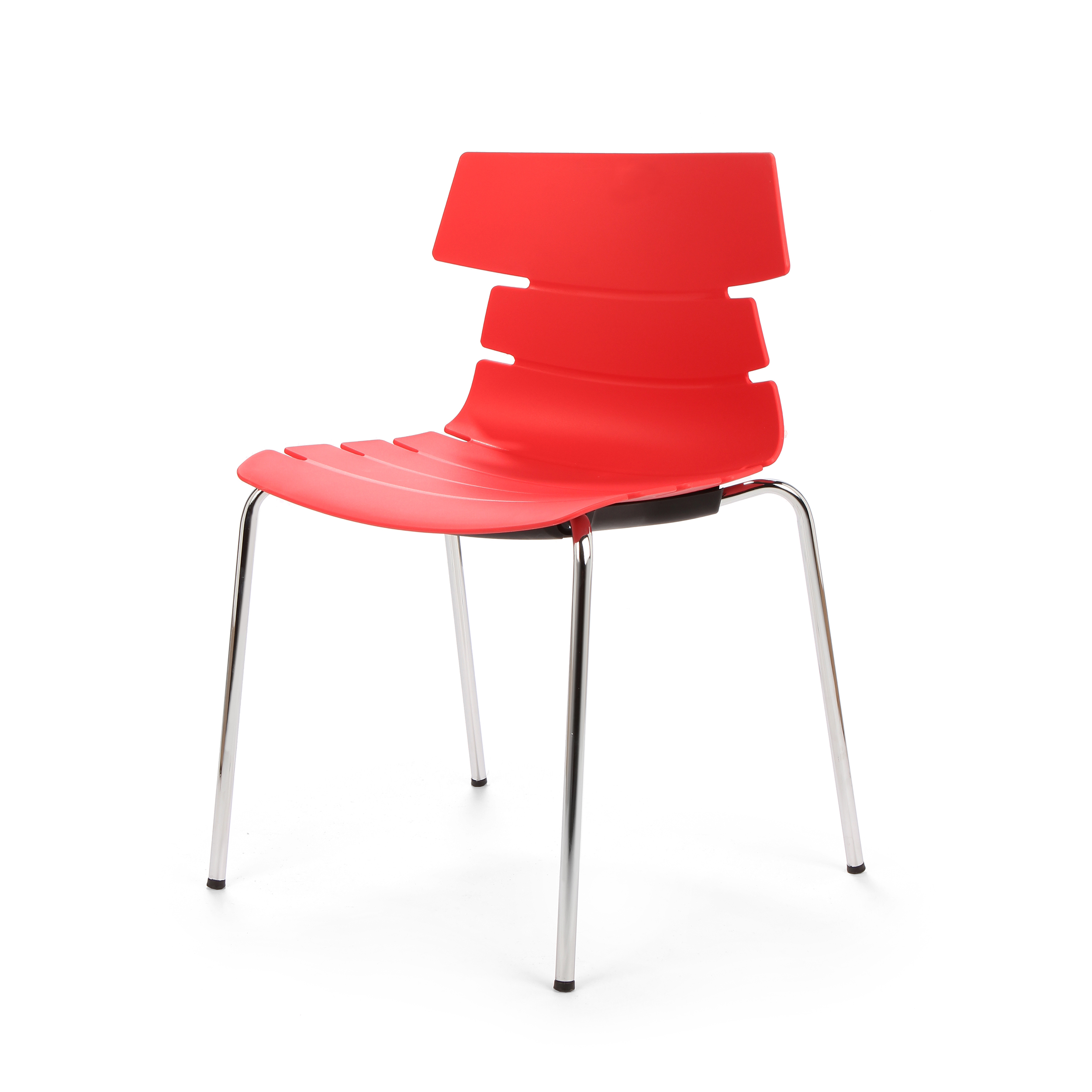Стул BreakoutИнтерьерные<br>Дизайнерский креативный минималистичный пластиковый стул Breakout (Брэкаут) на тонких металлических ножках от Cosmo (Космо).<br><br>     С одной стороны, стул Breakout — прямой наследник минималистической традиции, которая не терпит излишеств и отсекает все лишнее в пользу функциональности и чистоты линий. С другой — необычная форма стула, напоминающая хребет неизвестного животного, расширяет возможности его использования в интерьерах различных стилей.<br><br><br>     Благодаря своей компактности, легк...<br><br>stock: 0<br>Высота: 81<br>Высота сиденья: 45<br>Ширина: 51<br>Глубина: 58<br>Цвет ножек: Хром<br>Цвет сидения: Красный<br>Тип материала сидения: Полипропилен<br>Тип материала ножек: Сталь нержавеющая