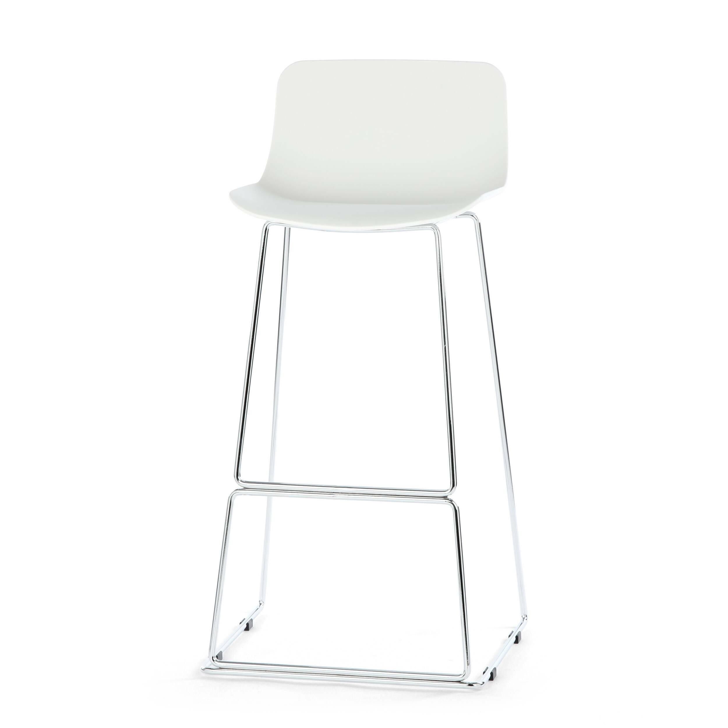Барный стул NeoБарные<br>Дизайнерский высокий барный стул Neo (Нео) на стальных ножках от Cosmo (Космо). <br><br> Дополните свой интерьер элегантным барным стулом Neo, который идеально подойдет для минималистического дизайна в современном исполнении или помещений в стиле техно, где приветствуется металл и пластик. Утонченный высокий каркас из нержавеющей стали с подставкой для ног и антискользящими насадками надежно удерживает эргономичное сиденье. Его мягкие формы плавно переходят в невысокую спинку, создавая комфортны...<br><br>stock: 0<br>Высота: 100<br>Ширина: 48<br>Глубина: 49<br>Цвет ножек: Хром<br>Цвет сидения: Белый<br>Тип материала сидения: Полипропилен<br>Тип материала ножек: Сталь нержавеющая