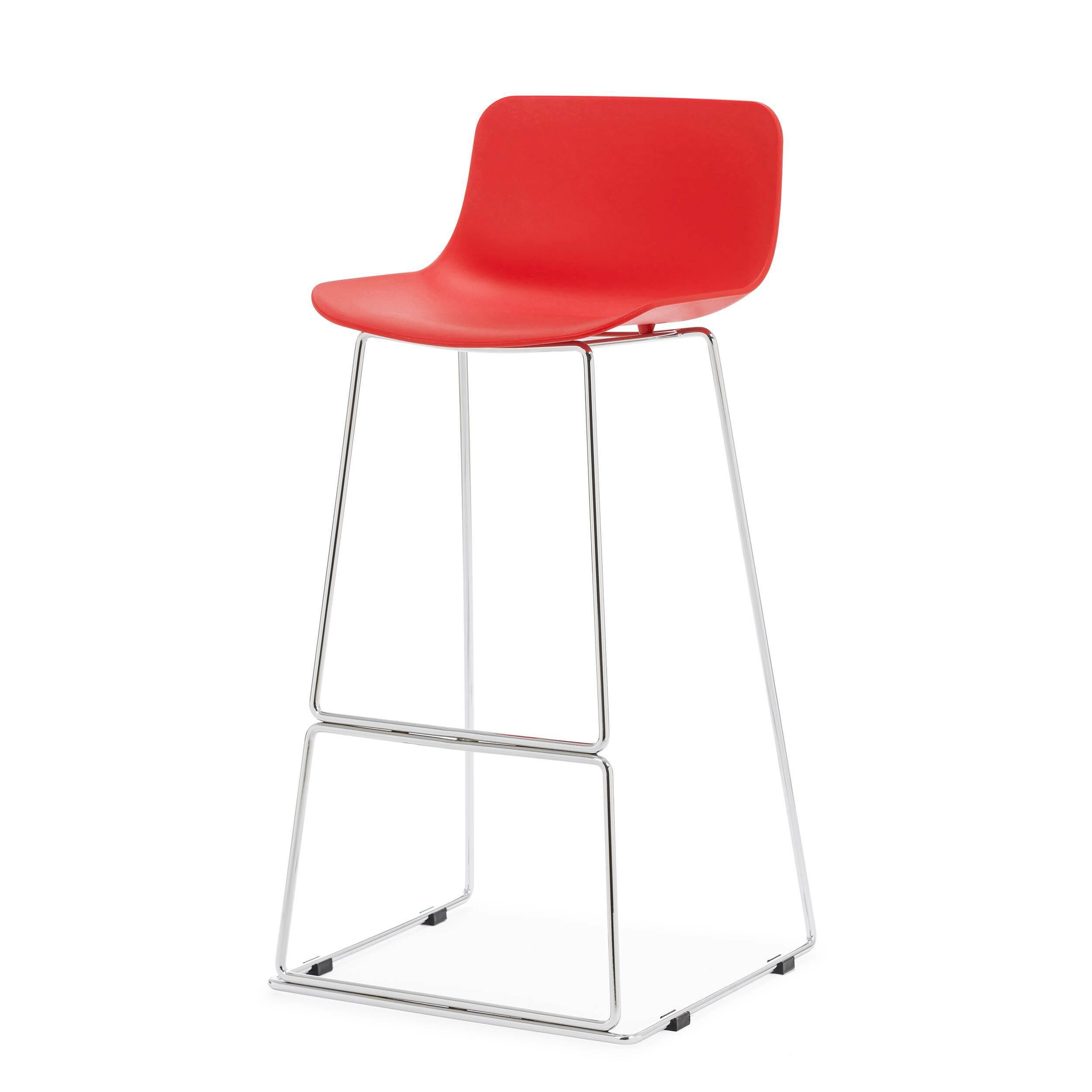 Барный стул NeoБарные<br>Дизайнерский высокий барный стул Neo (Нео) на стальных ножках от Cosmo (Космо). <br><br> Дополните свой интерьер элегантным барным стулом Neo, который идеально подойдет для минималистического дизайна в современном исполнении или помещений в стиле техно, где приветствуется металл и пластик. Утонченный высокий каркас из нержавеющей стали с подставкой для ног и антискользящими насадками надежно удерживает эргономичное сиденье. Его мягкие формы плавно переходят в невысокую спинку, создавая комфортны...<br><br>stock: 0<br>Высота: 100<br>Ширина: 48<br>Глубина: 49<br>Цвет ножек: Хром<br>Цвет сидения: Красный<br>Тип материала сидения: Полипропилен<br>Тип материала ножек: Сталь нержавеющая