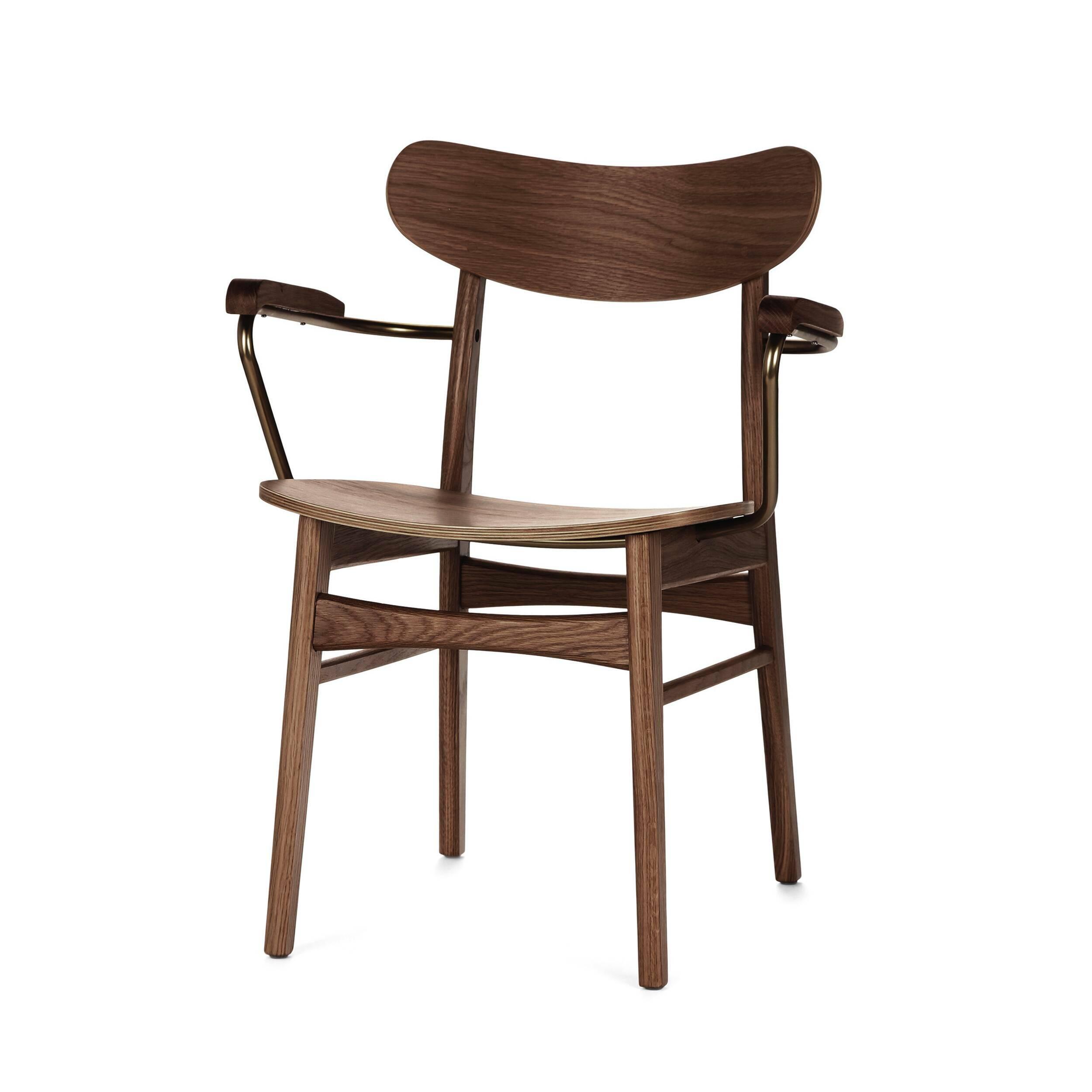 Стул Dutch 1 ArmИнтерьерные<br>Вы когда-нибудь задумывались о том, насколько важной частью интерьера является правильно подобранный стул? Это изделие способно кардинально изменить всю комнатную обстановку и перераспределить стилевые акценты в готовом дизайне. Стул Dutch 1 Arm сделает это наиболее гармонично и легко. Он обладает очень простым, но красивым дизайном, который способен легко влиться в окружающую обстановку и стать функциональной частью всего помещения.<br><br> Отдельно стоит отметить первоклассные материалы, соста...<br><br>stock: 0<br>Высота: 79,5<br>Высота сиденья: 42,5<br>Ширина: 59,5<br>Глубина: 53,5<br>Цвет подлокотников: Медь<br>Материал каркаса: Массив ореха<br>Материал подлокотников: Сталь<br>Тип материала каркаса: Дерево<br>Материал сидения: Фанера, шпон ореха<br>Цвет сидения: Орех<br>Тип материала сидения: Дерево<br>Цвет каркаса: Орех