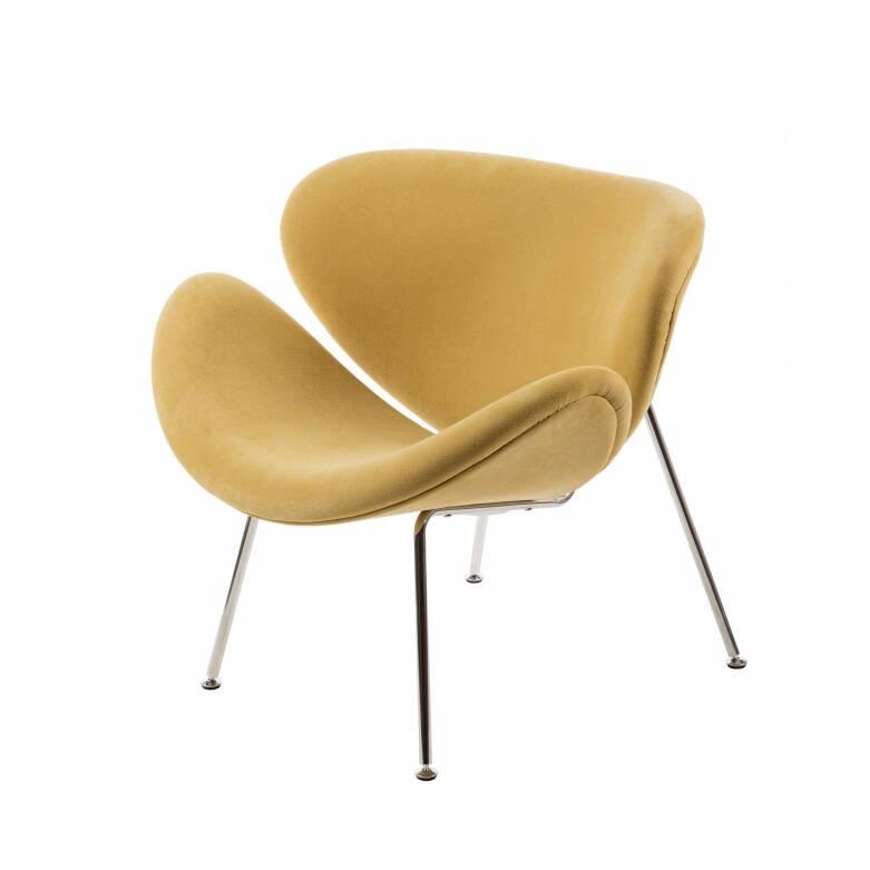 Кресло Orange SliceИнтерьерные<br>Дизайнерское яркое легкое кресло Orange Slice (Орандж Слайс) с тканевой обивкой на высоких ножках от Cosmo (Космо).<br><br><br> Кресло Orange Slice (англ. — «долька апельсина»), созданное дизайнером Пьером Поленом, впервые было представлено на выставке IMM Cologne в Кельне в 1960 году. Оригинальное кресло состоит из двух совершенно одинаковых элементов из прессованного бука с мягкой обивкой, которые закреплены на хромированном металлическом каркасе. Оно обладает яркой индивидуальностью и при этом...<br><br>stock: 0<br>Высота: 77<br>Высота сиденья: 44<br>Ширина: 85<br>Глубина: 79<br>Цвет ножек: Хром<br>Коллекция ткани: Ray Fabric<br>Тип материала обивки: Ткань<br>Тип материала ножек: Сталь нержавеющая<br>Цвет обивки: Песок