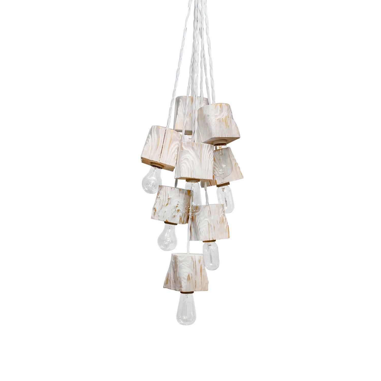 Подвесной светильник Querk 8Подвесные<br><br><br>stock: 0<br>Высота: 10<br>Ширина: 10<br>Длина: 10<br>Длина провода: 150<br>Количество ламп: 8<br>Материал абажура: Сосна<br>Мощность лампы: 40<br>Ламп в комплекте: Нет<br>Напряжение: 230<br>Тип лампы/цоколь: E27<br>Тип производства: Ручное производство<br>Цвет абажура: Белый<br>Цвет провода: Белый