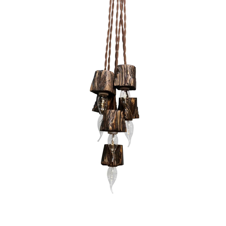 Подвесной светильник QuerkMini_06Подвесные<br><br><br>stock: 0<br>Высота: 7<br>Ширина: 7<br>Длина: 7<br>Длина провода: 130<br>Количество ламп: 6<br>Материал абажура: Сосна<br>Мощность лампы: 25<br>Напряжение: 230<br>Тип лампы/цоколь: E14<br>Тип производства: Ручное производство<br>Цвет абажура: Палисандр<br>Цвет провода: Коричневый