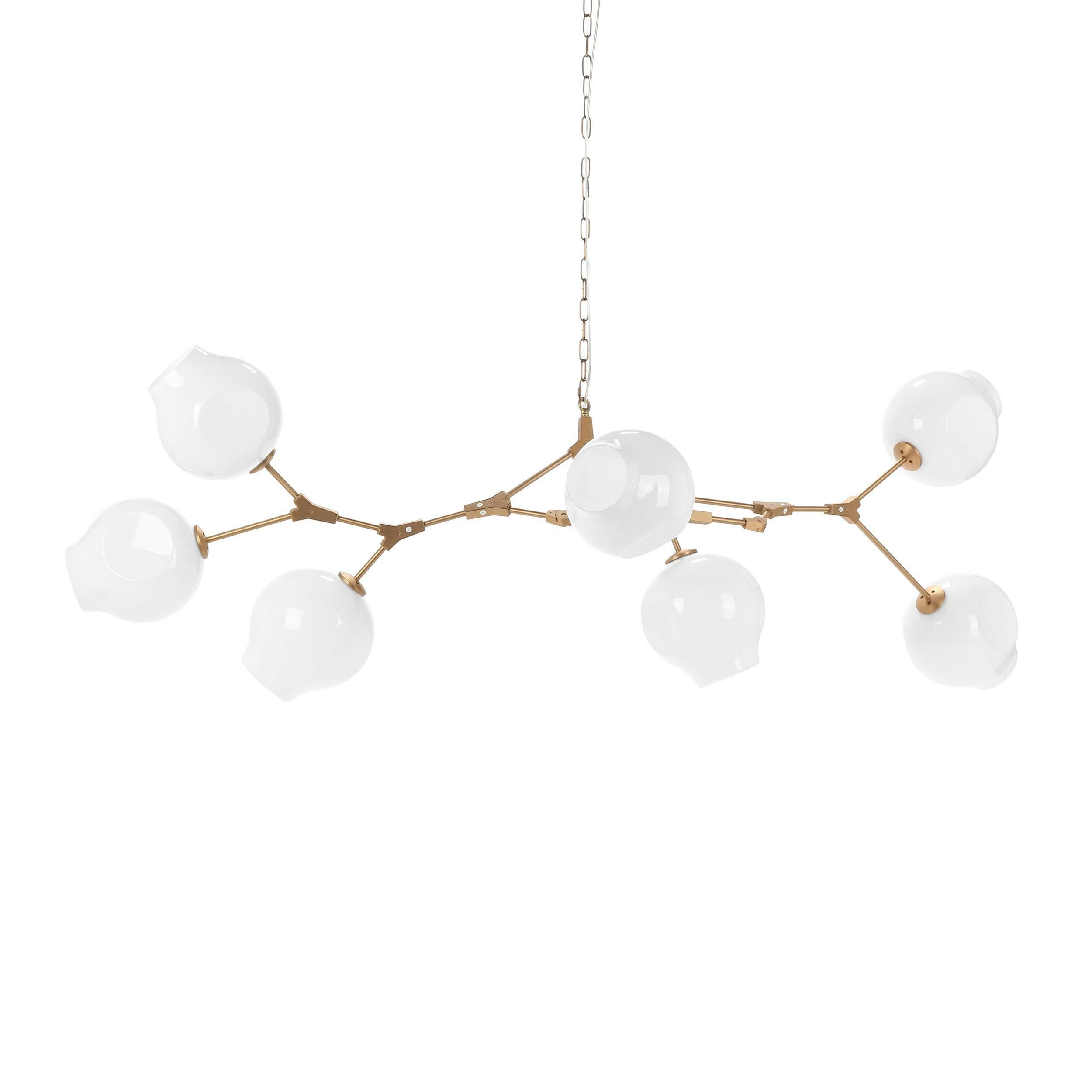 Подвесной светильник Branching Bubbles Summer, 7 лампПодвесные<br>Линдси Адельман, известный западный дизайнер, чьи работы обладают особенным шармом и творческим почерком, создает необычайно стильные и красивые источники освещения, которые сочетают в себе оригинальный внешний вид, особую надежность и прочность благодаря используемым материалам и их сочетаниям. Подвесной светильник Branching Bubbles Summer 7 ламп представляет собой затейливую конструкцию, напоминающую длинную ветвь с волшебными пузырями.<br><br><br><br><br> Плафоны светильника изготовлены из каче...<br><br>stock: 1<br>Высота: 70<br>Ширина: 90<br>Диаметр: 23<br>Длина: 205<br>Количество ламп: 7<br>Материал абажура: Стекло<br>Материал арматуры: Сталь<br>Мощность лампы: 40<br>Ламп в комплекте: Нет<br>Напряжение: 220<br>Тип лампы/цоколь: E27<br>Цвет абажура: Белый<br>Цвет арматуры: Латунь