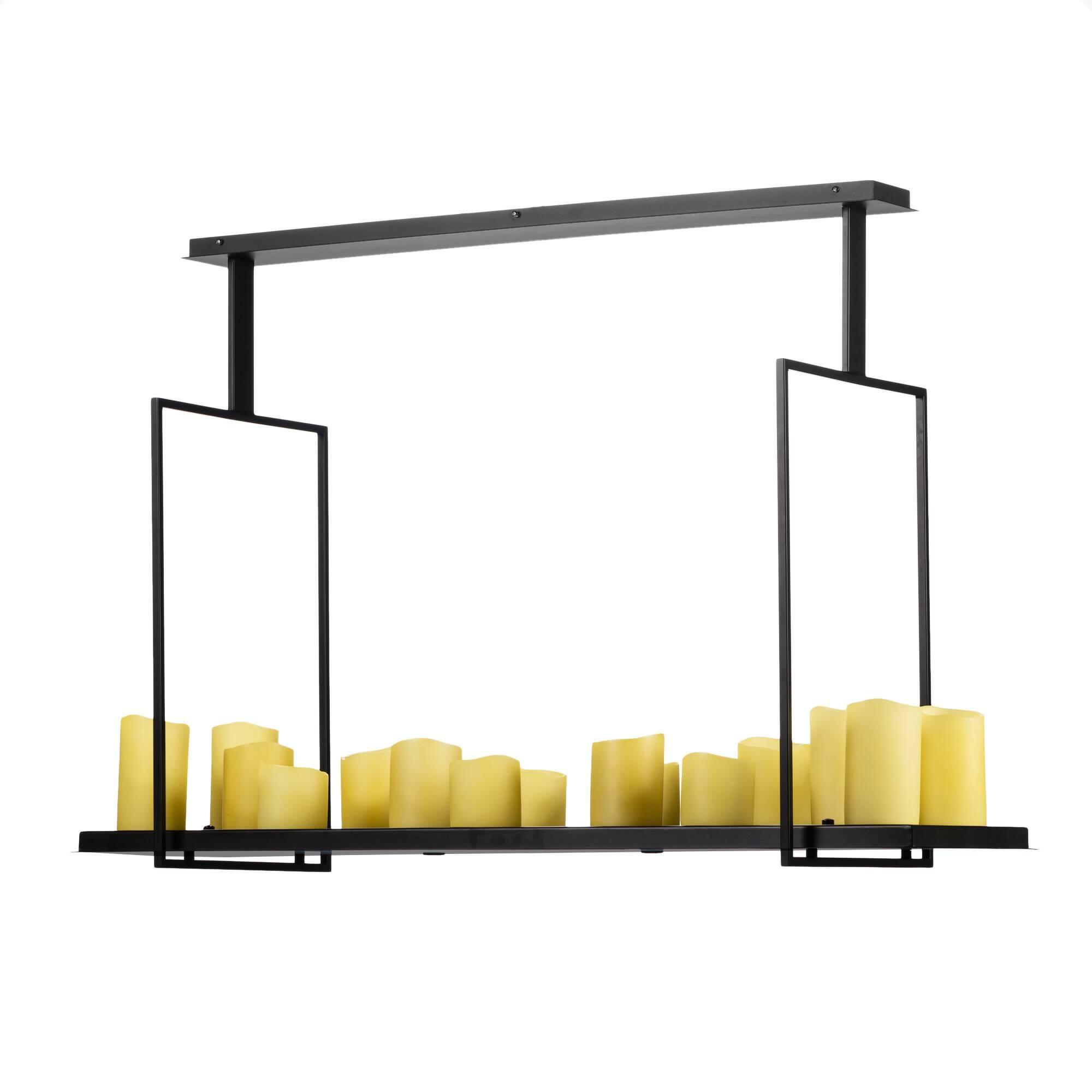 Потолочный светильник Altar 17 ламп IПотолочные<br>Потолочный светильник Altar 17 ламп I изготовлен дизайнером Кевином Райлли из стали, выкрашенной в черный цвет. Для обеспечения максимальной долговечности во время изготовления светильника использовались только современные технологии обработки.<br><br><br> Отличительной чертой потолочного светильника серии Altar является его оригинальная форма. Так, данный аксессуар выполнен в виде металлической подставки со свечами, подвешиваемой к потолку, при этом «свечи» излучают яркий электрический свет.<br><br>stock: 0<br>Высота: 82,5<br>Ширина: 40<br>Длина: 123<br>Количество ламп: 17<br>Материал абажура: Полистоун<br>Материал арматуры: Сталь<br>Мощность лампы: 1<br>Ламп в комплекте: Нет<br>Тип лампы/цоколь: LED<br>Цвет абажура: Черный