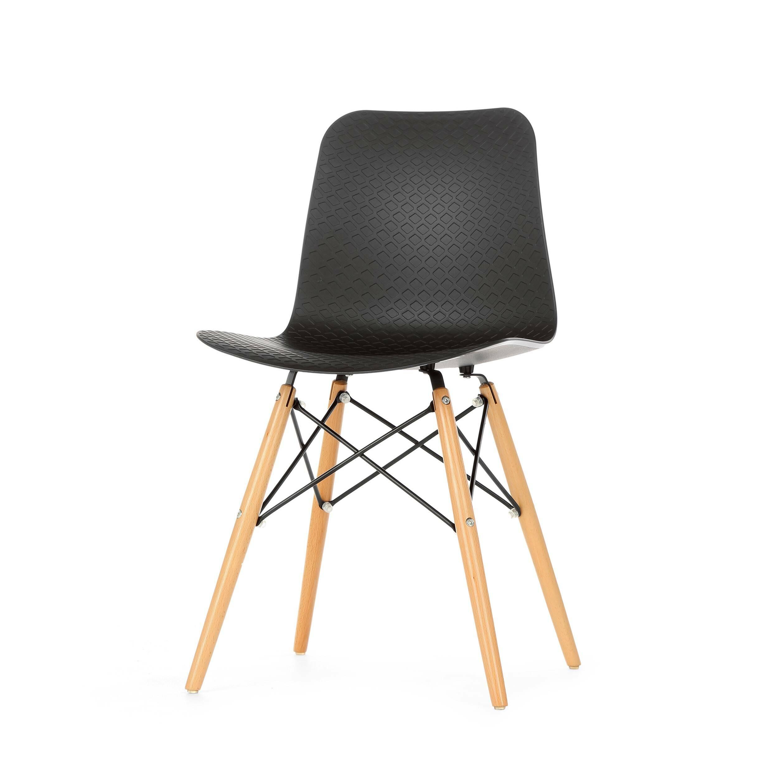 Стул GlideИнтерьерные<br>Дизайнерский пластиковый стул Glide (Глайд) на деревянных ножках из бука от Cosmo (Космо).<br>Стул Glide — это иконический дизайн с парой новых штрихов. Ножки стула Glide выполнены по одному из легендарных проектов интерьерного дизайна, который появился еще в середине прошлого столетия. Эта необычная конструкция изготовлена из натуральной древесины бука и металлических спиц, которые в свою очередь делают его не только стильным, но и устойчивым. <br> <br> Если вы еще не определились с тем, куда пост...<br><br>stock: 28<br>Высота: 82<br>Высота спинки: 45<br>Ширина: 45.5<br>Глубина: 49<br>Цвет ножек: Светло-коричневый<br>Материал ножек: Массив бука<br>Тип материала каркаса: Сталь<br>Цвет сидения: Черный<br>Тип материала сидения: Пластик<br>Тип материала ножек: Дерево<br>Цвет каркаса: Черный