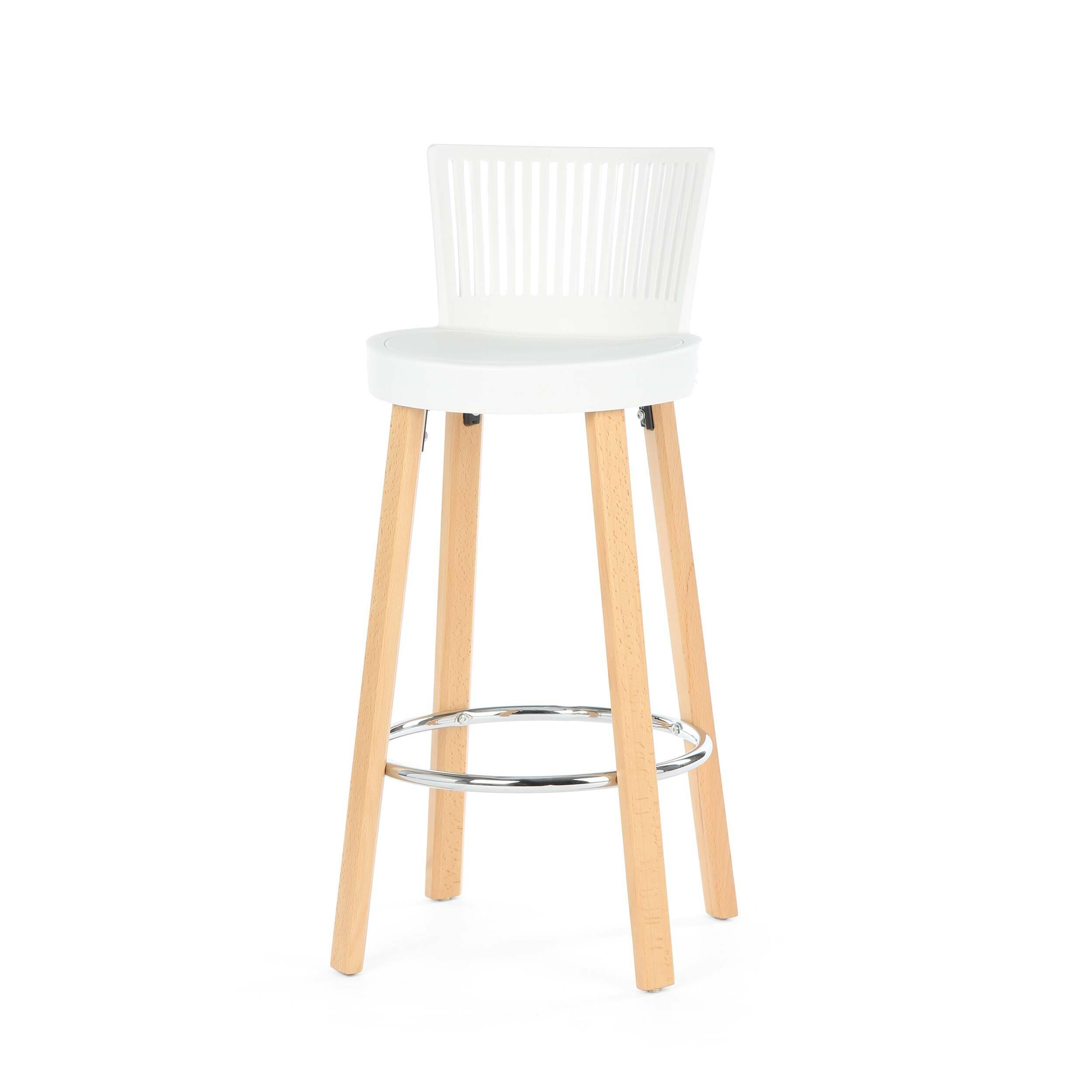Барный стул TrinidadБарные<br>Дизайн барного стула Trinidad выделяется своим неповторимым стилем. Дизайнер создал не просто стул, но настоящее мебельное произведение искусства, которое можно отнести ко многим современным стилям, например к хай-теку, лофту, модерну и многим другим. «Вкусное» оформление данной модели способно внести разнообразие и яркие черты в любую обстановку.<br><br><br> Дизайн стула продуман таким образом, чтобы на нем можно было сидеть расслабленно, но не теряя осанку и тонус. Сиденье модели изготовлено...<br><br>stock: 1<br>Высота: 96.5<br>Высота сиденья: 76<br>Ширина: 39<br>Глубина: 41<br>Цвет ножек: Светло-коричневый<br>Материал ножек: Массив бука<br>Цвет сидения: Белый<br>Тип материала сидения: Полипропилен<br>Тип материала ножек: Дерево