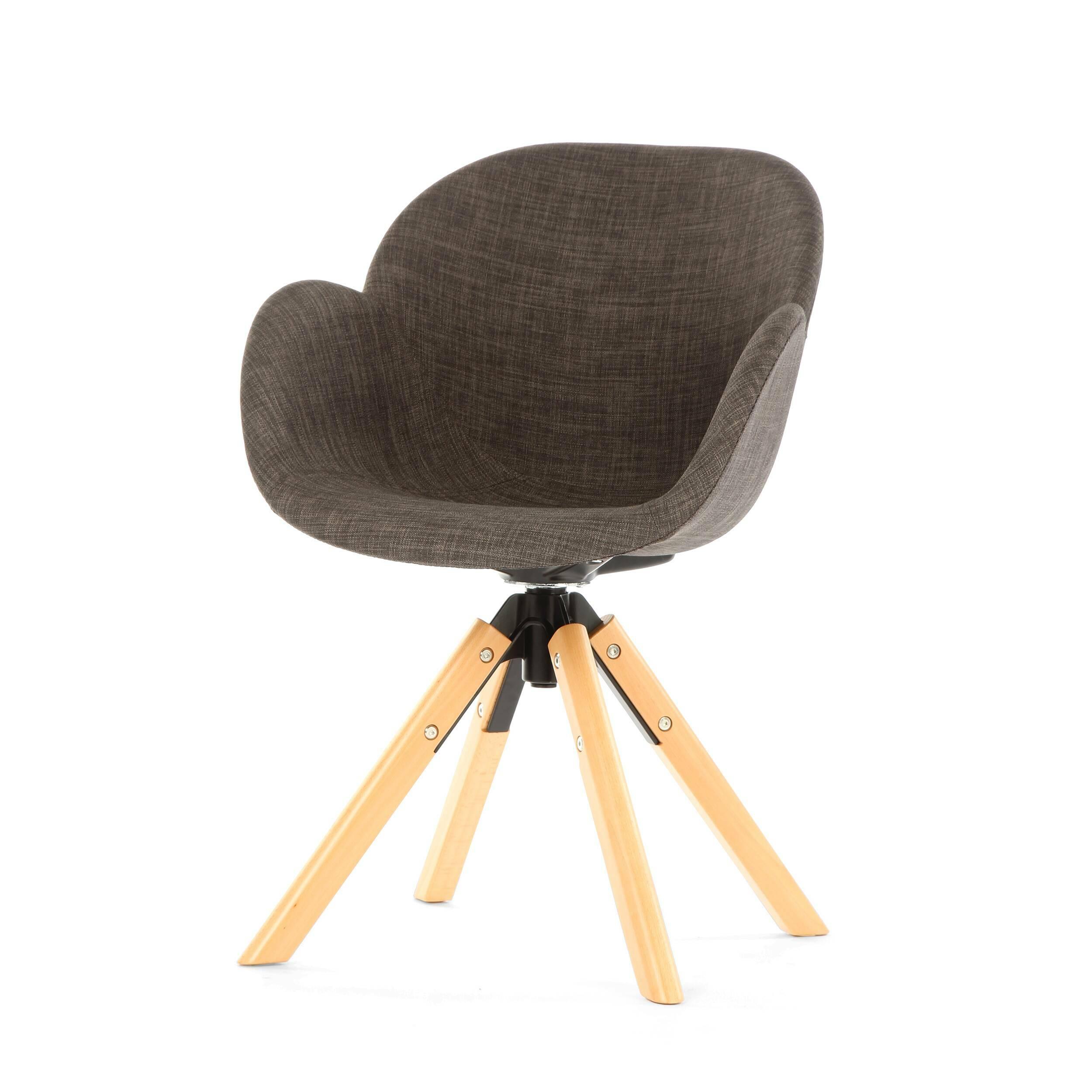 Стул PercyИнтерьерные<br>Стул Percy будет красиво и интересно смотреться в интерьере. Спинка изделия плавно переходит в сиденье, а оно — в сплошные подлокотники. Благодаря этому стул смотрится очень гармоничным и пропорциональным, в нем удобно сидеть за работой или просто отдыхать. Изделие больше напоминает собой упрощенный вариант домашнего кресла.<br><br><br> Необычная конструкция ножек поможет внести в интерьер разнообразие. Ножки изготовлены из массива бука — прочной и надежной древесины, которая очень популярна ср...<br><br>stock: 25<br>Высота: 85<br>Высота сиденья: 46<br>Ширина: 59<br>Глубина: 61<br>Цвет ножек: Светло-коричневый<br>Механизмы: Поворотная функция<br>Материал ножек: Массив бука<br>Цвет сидения: Черный<br>Тип материала сидения: Ткань<br>Тип материала ножек: Дерево