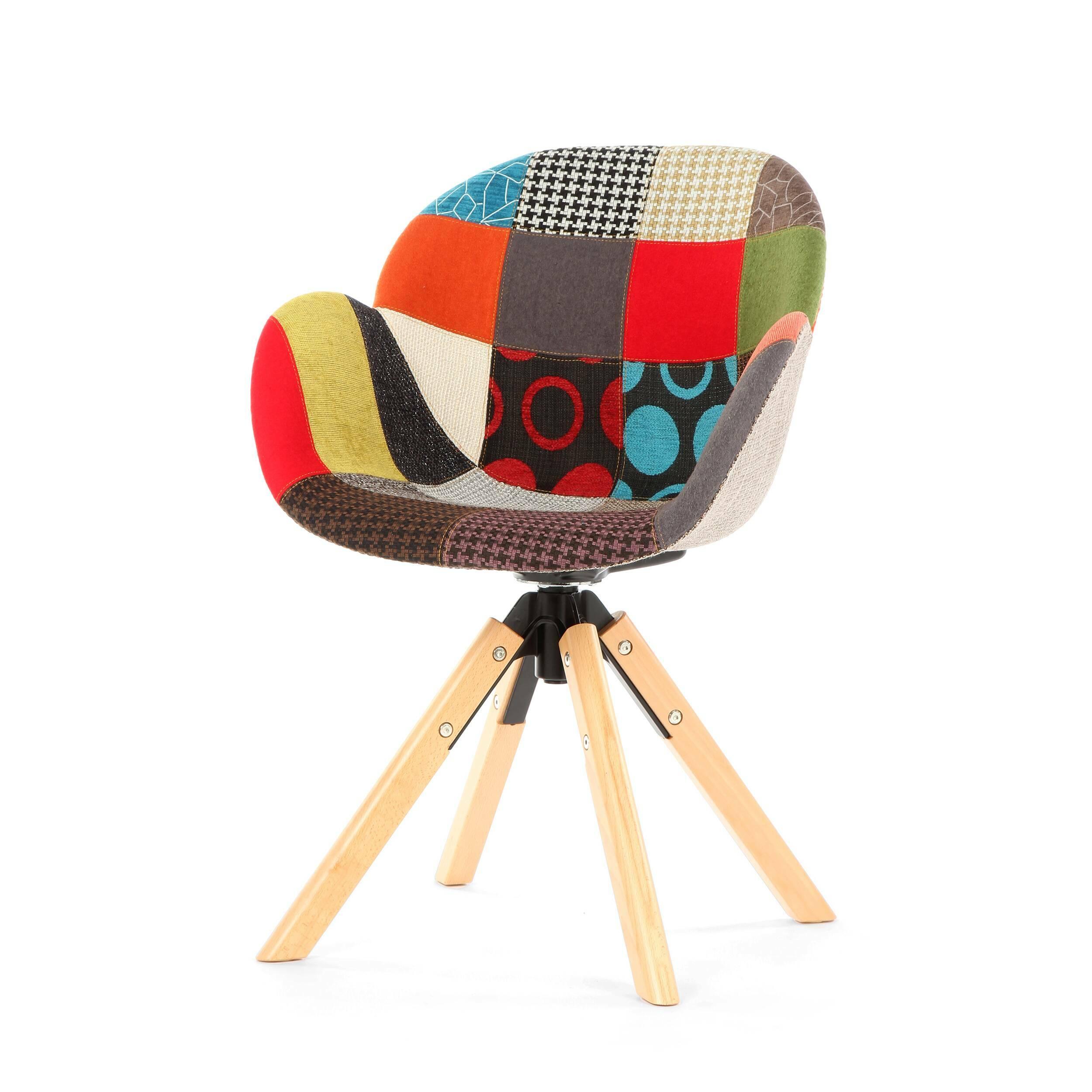 Стул PercyИнтерьерные<br>Стул Percy будет красиво и интересно смотреться в интерьере. Спинка изделия плавно переходит в сиденье, а оно — в сплошные подлокотники. Благодаря этому стул смотрится очень гармоничным и пропорциональным, в нем удобно сидеть за работой или просто отдыхать. Изделие больше напоминает собой упрощенный вариант домашнего кресла.<br><br><br> Необычная конструкция ножек поможет внести в интерьер разнообразие. Ножки изготовлены из массива бука — прочной и надежной древесины, которая очень популярна ср...<br><br>stock: 18<br>Высота: 85<br>Высота сиденья: 46<br>Ширина: 59<br>Глубина: 61<br>Цвет ножек: Светло-коричневый<br>Механизмы: Поворотная функция<br>Материал ножек: Массив бука<br>Цвет сидения: Разноцветный<br>Тип материала сидения: Ткань<br>Тип материала ножек: Дерево