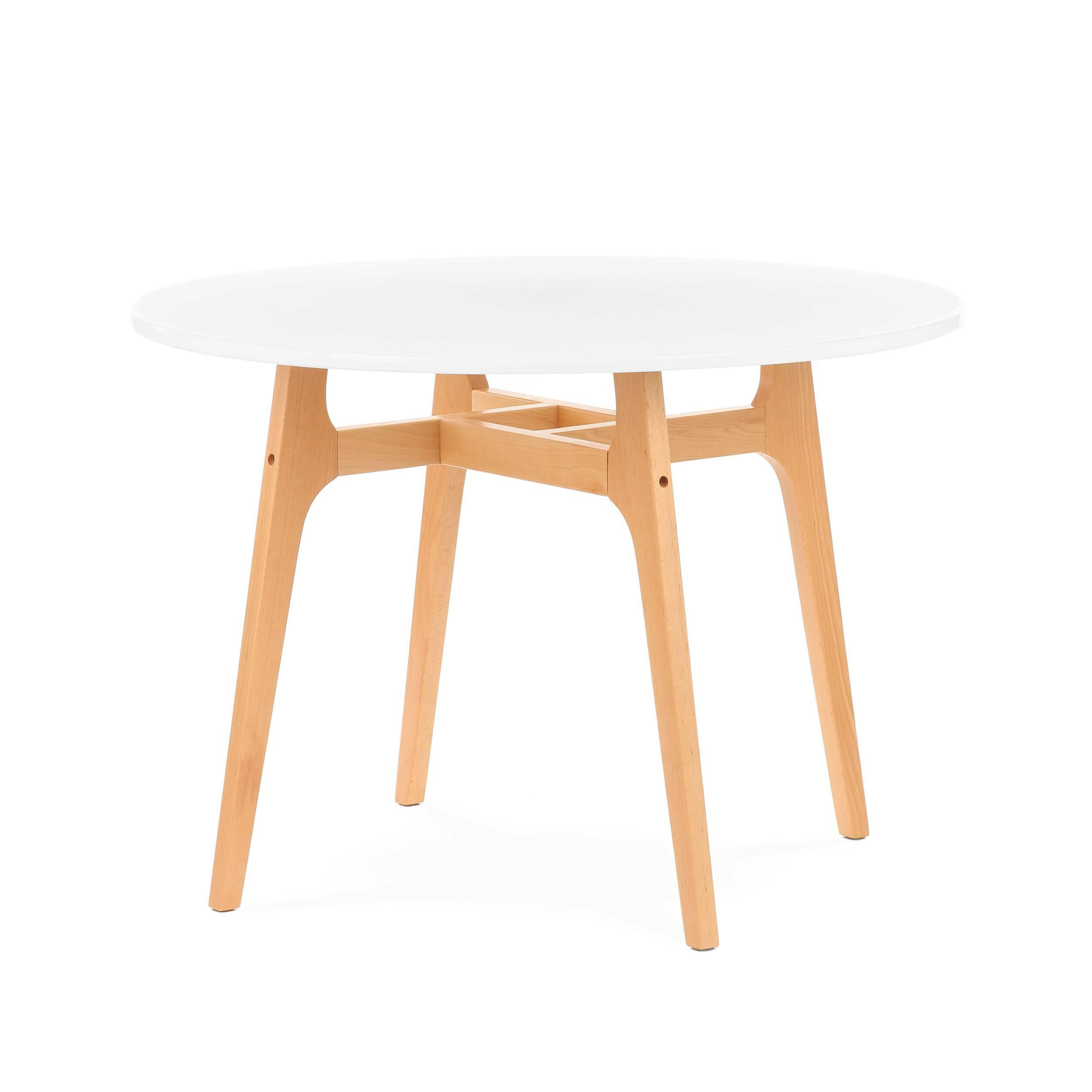 Обеденный стол Eiffel диаметр 100Обеденные<br>Выполненный в стилистике 60-х годов обеденный стол Eiffel диаметр 100 отвечает требованиям к мебели тех времен. Особенно ценились такие качества мебели, как функциональность и лаконичность. Обязательным элементом считались ножки (в данном случае — деревянные), устойчивые и при этом не массивные, которые делали пространство более легким и визуально «прозрачным». К тому же такое решение существенно упрощало уборку помещения. Высоко ценилась простота и отсутствие излишнего декора, и гладкая ...<br><br>stock: 22<br>Высота: 71<br>Диаметр: 100<br>Цвет ножек: Светло-коричневый<br>Цвет столешницы: Белый<br>Материал ножек: Массив бука<br>Тип материала столешницы: Полипропилен<br>Тип материала ножек: Дерево