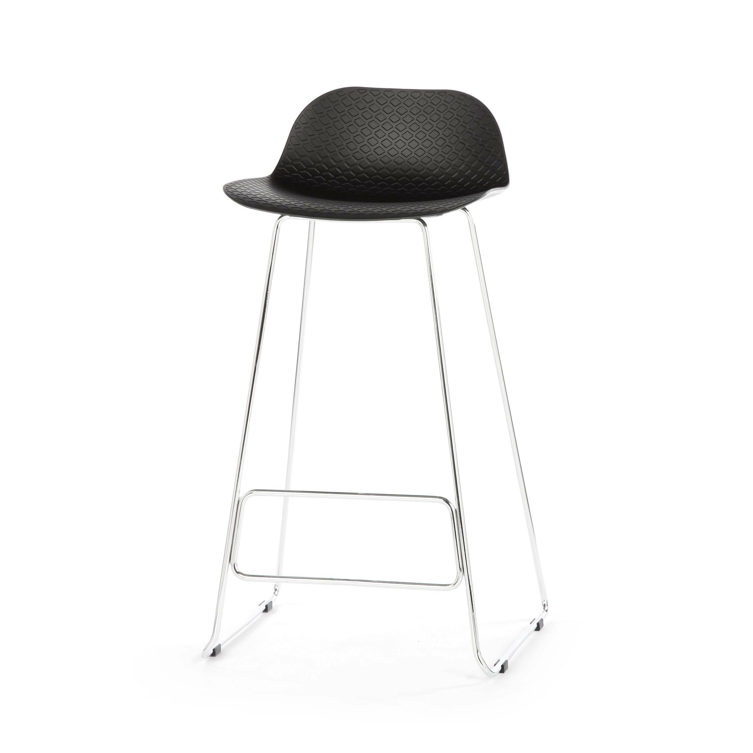 Барный стул CatinaБарные<br>Ультрасовременный дизайн барного стула Catina — это настоящий подарок для обладателя интерьера в стиле минимализм или хай-тек. Эти два стиля переосмысливают достижения высоких технологий о ценность свободного пространства и добавляют в них художественные черты. Барный стул Catina — прекрасный тому пример. Он отличается высокой функциональностью, лаконичным оформлением и необыкновенно красивыми, плавными линиями и белоснежным цветом.<br><br><br> Барный стул Catina изготовлен из современных матер...<br><br>stock: 32<br>Высота: 93<br>Высота сиденья: 76<br>Ширина: 48.5<br>Глубина: 49.5<br>Цвет ножек: Хром<br>Цвет сидения: Черный<br>Тип материала сидения: Полипропилен<br>Тип материала ножек: Сталь