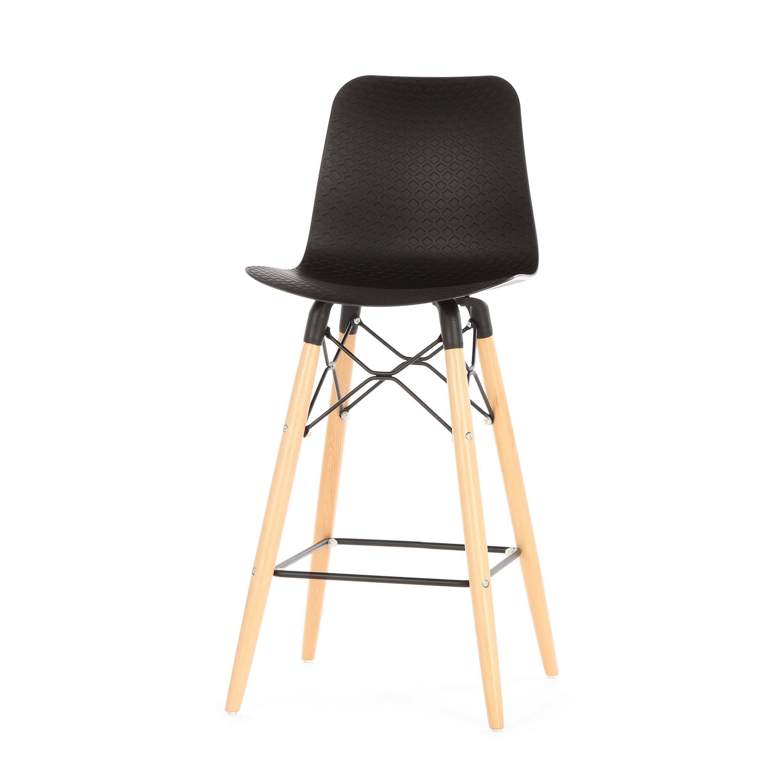 Полубарный стул EiffelПолубарные<br>Полубарный стул Eiffel — это инновационная модель, которая стала результатом гармоничного смешения разных стилей. Наиболее ярко в дизайне данной модели прослеживается стиль хай-тек — стильные черный и белый цвета, плавные изгибы, минимальное количество деталей и необыкновенно красивый внешний вид.<br><br><br> Хай-тек проявляет себя в данном стуле и в качестве материалов, которые используются для его создания. Спинка и сиденье сделаны из полипропилена — очень легкого, но прочного материала. Эта ...<br><br>stock: 20<br>Высота: 103.5<br>Высота сиденья: 68<br>Ширина: 47<br>Глубина: 47.5<br>Цвет ножек: Светло-коричневый<br>Материал ножек: Массив бука<br>Тип материала каркаса: Сталь<br>Цвет сидения: Черный<br>Тип материала сидения: Полипропилен<br>Тип материала ножек: Дерево<br>Цвет каркаса: Черный
