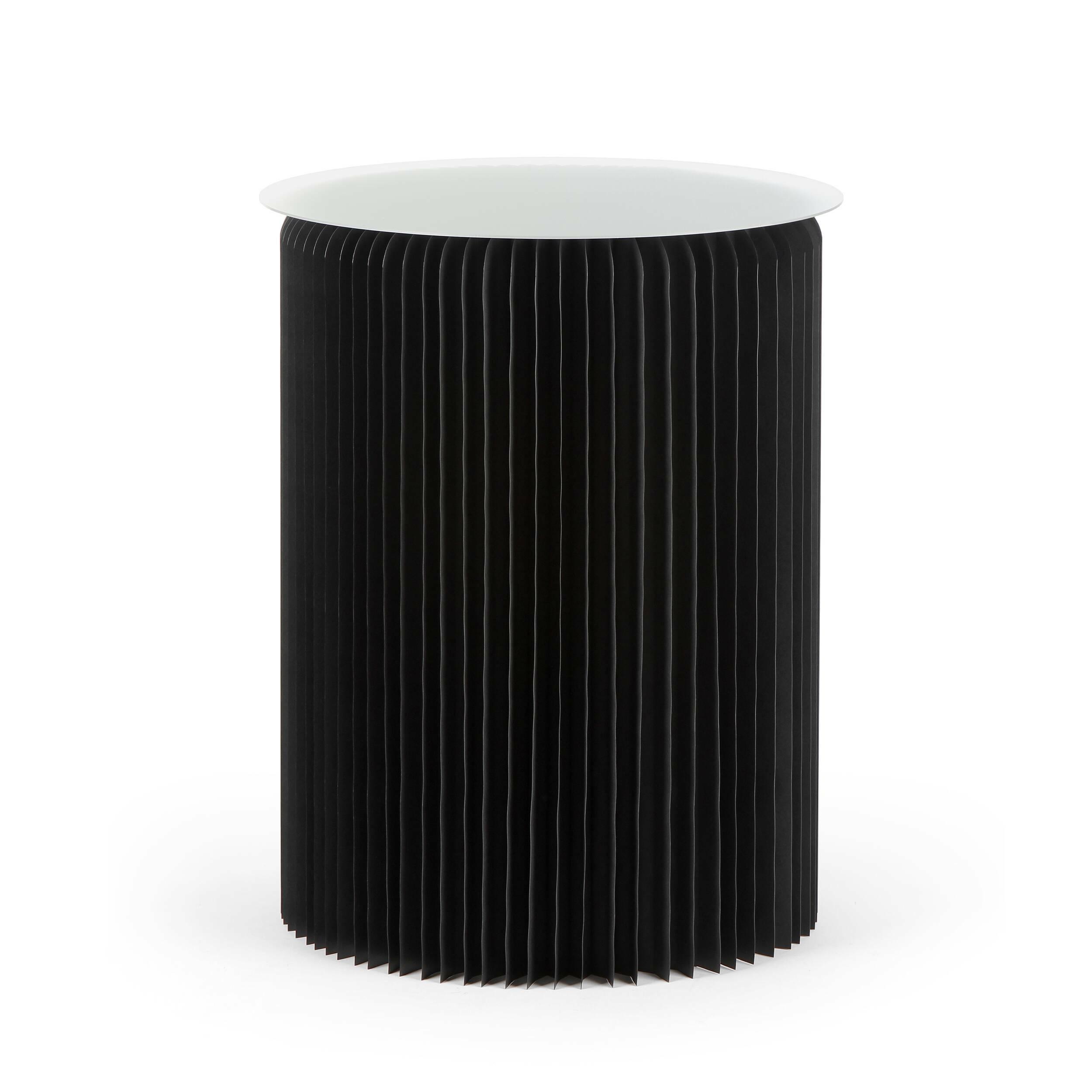 Стол бумажный высота 75 смКофейные столики<br>Если вы хотите преобразить домашний интерьер, привнести в него свежесть и оригинальные формы, то бумажная мебель может стать прекрасным решением для этих задач. Стол бумажный высота 75 см обладает высокой прочностью, а его необычный и очень красивый дизайн станет настоящим украшением всего интерьера.<br><br><br> Стол бумажный высота 75 см представляет собой цилиндр-гармошку из настоящей бумаги, которая спрессована особым образом и пропитана влагоотталкивающим веществом. Все это придает изделию...<br><br>stock: 7<br>Высота: 75<br>Диаметр: 56<br>Цвет столешницы: Прозрачный<br>Материал каркаса: Бумага<br>Тип материала столешницы: Акрил<br>Цвет каркаса: Черный