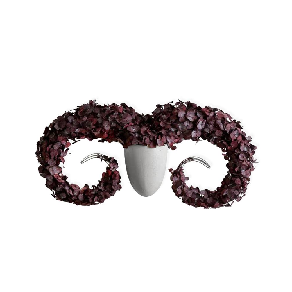 Купить Настенная ваза с каркасом для плетения Menagerie Ram, Kenneth Cobonpue, Серый, Металл