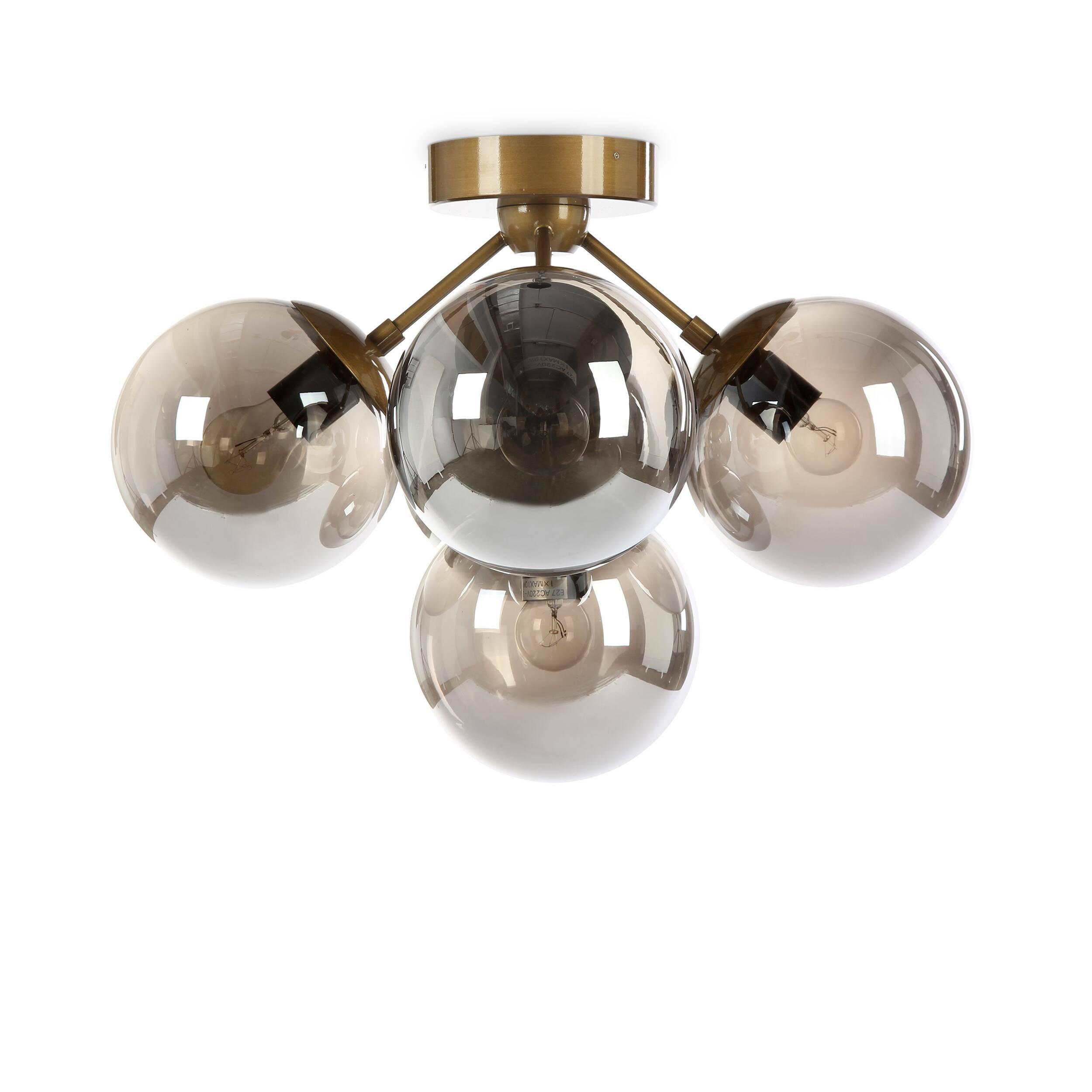 Потолочный светильник FirefliesПотолочные<br>Потолочный светильник Fireflies — сказочное творение ведущих западных дизайнеров, созданное специально для того, чтобы украшать помещение и задавать в нем особую тонкую атмосферу. Светильник состоит из нескольких шарообразных плафонов. Плафоны напоминают собой легких светлячков, которые собрались вместе, чтобы осветить пространство вашей комнаты.<br><br><br><br><br> Плафоны светильника изготовлены из прочного, полупрозрачного стекла необычного коньячного цвета. Основание и крепления светильника вып...<br><br>stock: 1<br>Высота: 36<br>Диаметр: 49<br>Количество ламп: 5<br>Материал абажура: Стекло<br>Материал арматуры: Сталь<br>Мощность лампы: 10<br>Ламп в комплекте: Нет<br>Напряжение: 220<br>Тип лампы/цоколь: E27<br>Цвет абажура: Дымчато-серый<br>Цвет арматуры: Латунь