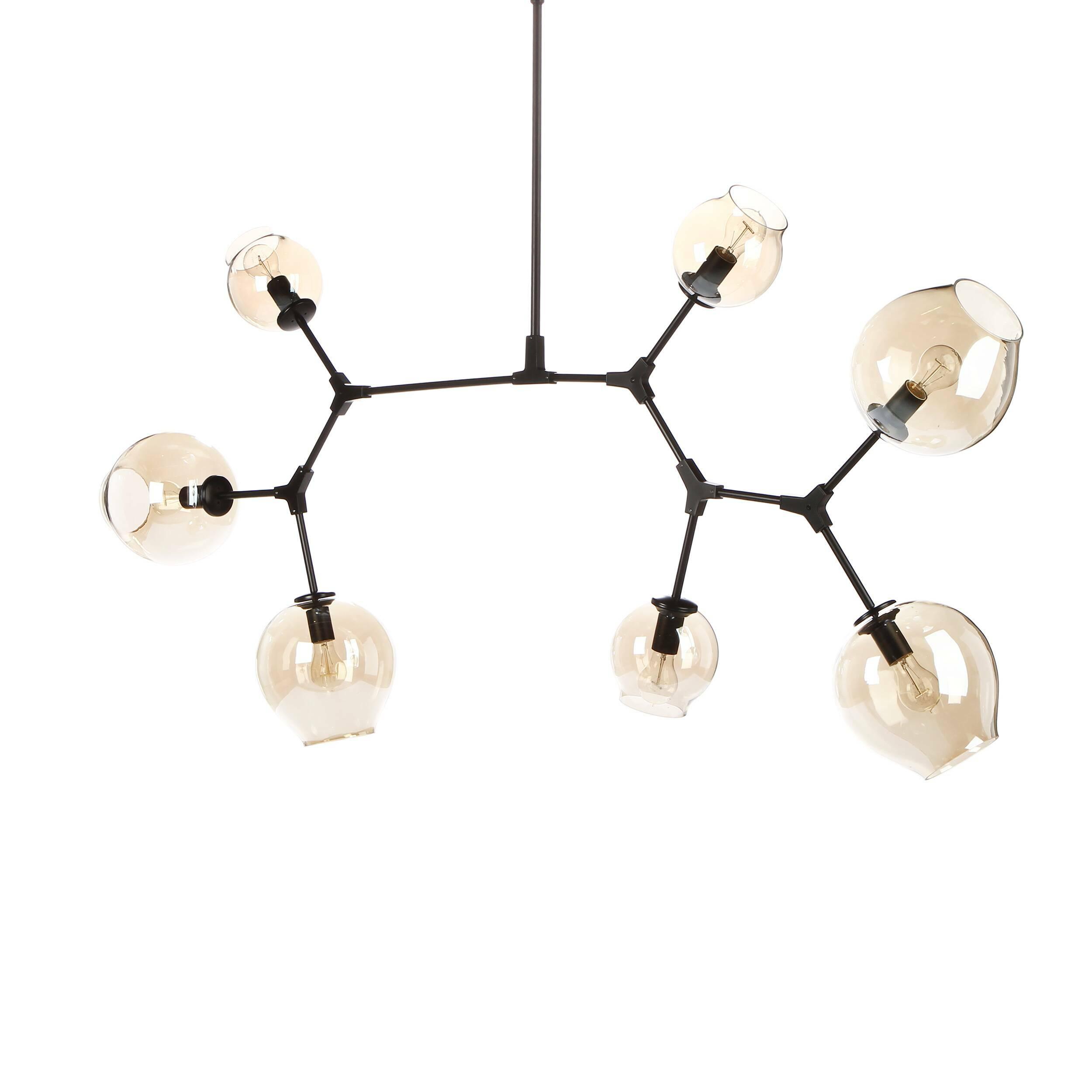 Потолочный светильник Branching Bubbles 7 лампПотолочные<br>Этот потолочный светильник не оставит равнодушными тех, кто стремится привнести частичку природы в свой дом. Он является настоящим хитросплетением форм и материалов — металлические крепления, напоминающие ветки, завершаются выдутыми вручную стеклянными плафонами. Светильник похож на цветущее дерево, это работа американского промышленного дизайнера Линдси Адельман, которая черпает свое вдохновение именно из выразительных природных сочетаний.<br><br><br> Потолочный светильник Branching Bubbles 7 ...<br><br>stock: 0<br>Высота: 123<br>Ширина: 165<br>Диаметр: 60<br>Количество ламп: 7<br>Материал абажура: Стекло<br>Материал арматуры: Металл<br>Мощность лампы: 40<br>Ламп в комплекте: Нет<br>Напряжение: 220<br>Тип лампы/цоколь: E27<br>Цвет абажура: Прозрачный<br>Цвет арматуры: Черный матовый