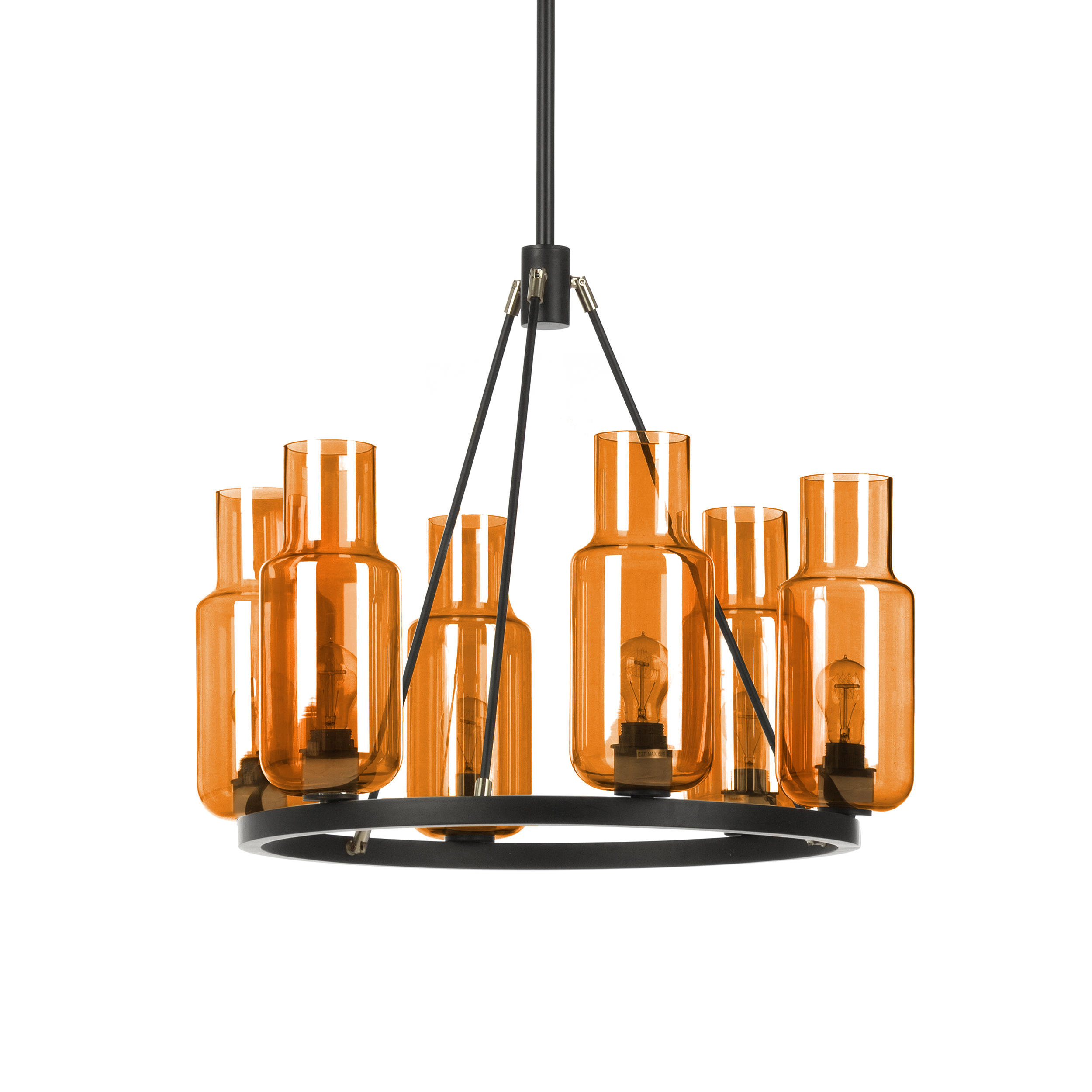 Подвесной светильник KnightПодвесные<br>Подвесной светильник Knight — один из коллекции американского дизайнера Джереми Пайлза, специализирующегося на дизайне осветительных приборов.<br> <br> Сказать, что подвесной светильник Knight универсален, ничего не сказать. Его дизайн лаконичен и подходит интерьеру абсолютно любого помещения в современном стиле — гостиной или детской, кухни или ванной, кафе или офиса... Светильники из различных коллекций Пайлза гармонично сочетаются между собой. Все это благодаря однородности форм, цветов и мате...<br><br>stock: 2<br>Высота: 120<br>Диаметр: 70<br>Количество ламп: 6<br>Материал абажура: Стекло<br>Материал арматуры: Сталь<br>Мощность лампы: 60<br>Ламп в комплекте: Нет<br>Напряжение: 220<br>Тип лампы/цоколь: E27<br>Цвет абажура: Красный
