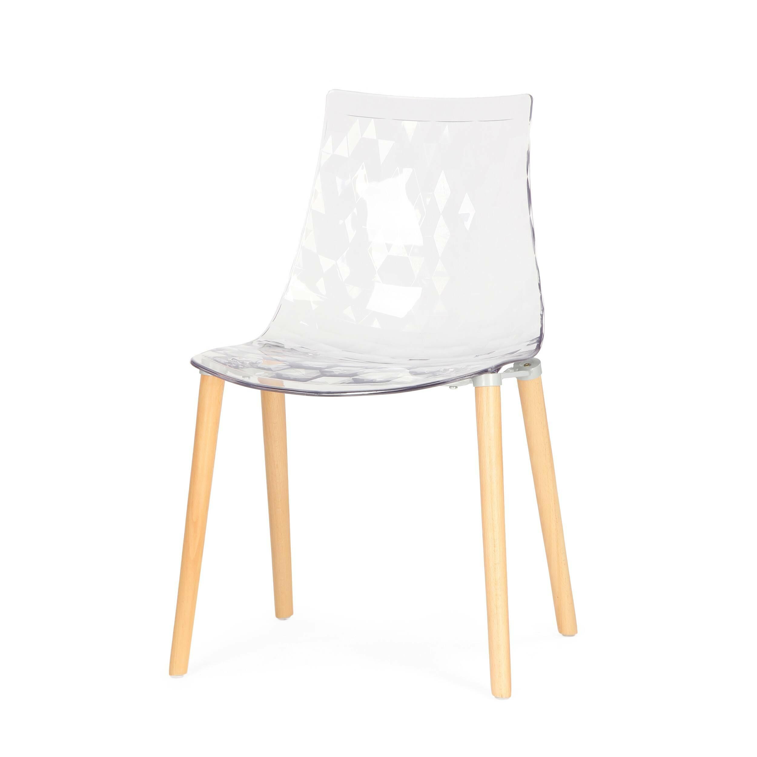 Стул Gauzy с деревянными ножкамиИнтерьерные<br>Дизайнерский светлый прозрачный стул Gauzy (Гаузи) из поликарбоната с деревянными ножками от Cosmo (Космо).<br><br>     Приятный лаконичный дизайн стула Gauzy с деревянными ножками обязательно порадует даже самых строгих ценителей современного дизайна. Мягкие изгибы стула не только хороши на вид, но на таком стуле комфортно сидеть. Это легкая вариация оригинального стула, который собран с ножками из металла. <br><br><br>     Необычное ребристое тиснение на поверхности сиденья — одна из основных особенн...<br><br>stock: 0<br>Высота: 80<br>Высота сиденья: 45<br>Ширина: 51<br>Глубина: 54.5<br>Цвет ножек: Светло-коричневый<br>Материал каркаса: Поликарбонат<br>Материал ножек: Массив ясеня<br>Тип материала каркаса: Пластик<br>Тип материала ножек: Дерево<br>Цвет каркаса: Прозрачный