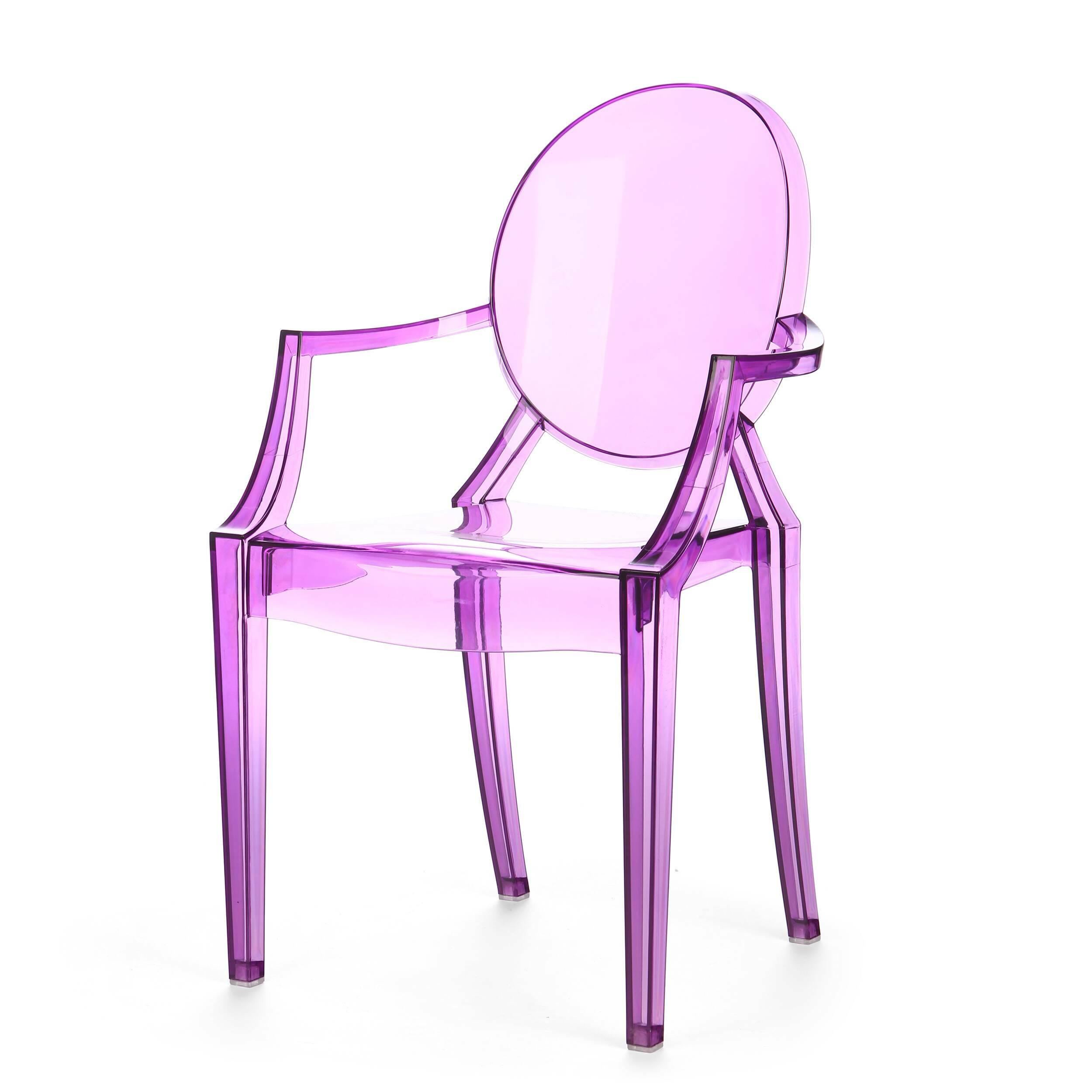 Стул Louis GhostИнтерьерные<br>Дизайнерский глянцевый жесткий пластиковый стул Louis Ghost (Луи Гост) с круглым сиденьем на четырех ножках от Cosmo (Космо).<br><br>     Волна любви к маэстро промышленного дизайна французу Филиппу Старку, захлестнувшая мир несколько лет назад, отнюдь не спадает. Его предметы давно стали must have любого стильного интерьера, и стул Louis Ghost не исключение. Этот бестселлер — ироничная фантазия на тему классического кресла в стиле Людовика XVI, не зря же и назван он «призрак Людовика». На бестел...<br><br>stock: 5<br>Высота: 92,5<br>Высота сиденья: 48,5<br>Ширина: 54<br>Глубина: 57,5<br>Материал каркаса: Поликарбонат<br>Тип материала каркаса: Пластик<br>Цвет каркаса: Фиолетовый прозрачный