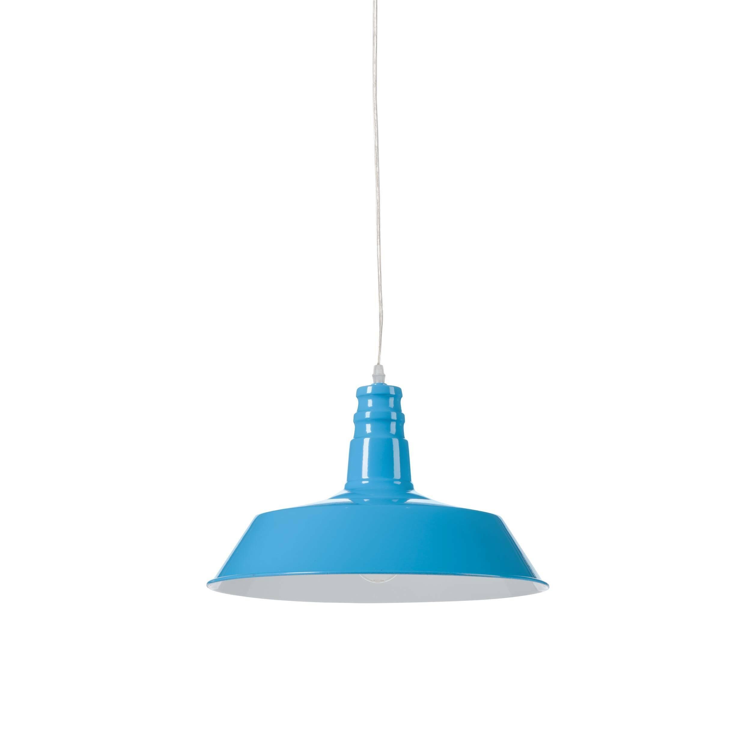Подвесной светильник Barn IndustrialПодвесные<br>Этот подвесной светильник сочетает в себе лаконичность и практичность. Прочные металлические детали подвесного светильника Barn Industrial внушают спокойствие и уверенность.<br><br><br> Подвесной светильник Barn Industrial идеально подходит для использования в рамках индустриального стиля, для освещения баров, коворкингов, лофтов и других просторных помещений, которым подошло бы оформление в модном сегодня стиле стимпанк.<br><br>stock: 54<br>Высота: 26<br>Длина: 36<br>Длина провода: 150<br>Количество ламп: 1<br>Материал абажура: Сталь<br>Мощность лампы: 40<br>Ламп в комплекте: Нет<br>Напряжение: 220<br>Тип лампы/цоколь: E27<br>Цвет абажура: Синий<br>Цвет провода: Черный