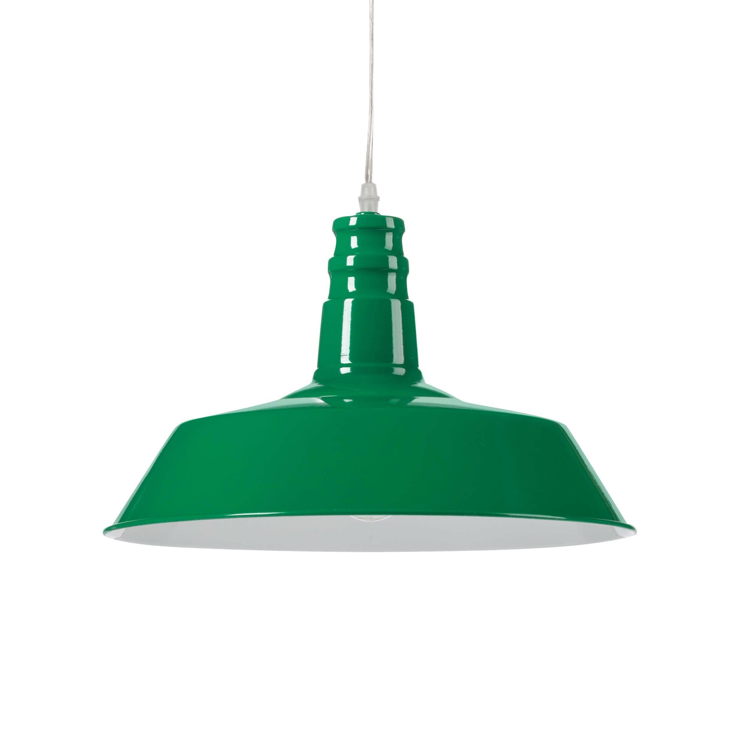 Подвесной светильник Barn IndustrialПодвесные<br>Этот подвесной светильник сочетает в себе лаконичность и практичность. Прочные металлические детали подвесного светильника Barn Industrial внушают спокойствие и уверенность.<br><br><br> Подвесной светильник Barn Industrial идеально подходит для использования в рамках индустриального стиля, для освещения баров, коворкингов, лофтов и других просторных помещений, которым подошло бы оформление в модном сегодня стиле стимпанк.<br><br>stock: 56<br>Высота: 26<br>Длина: 36<br>Длина провода: 150<br>Количество ламп: 1<br>Материал абажура: Сталь<br>Мощность лампы: 40<br>Ламп в комплекте: Нет<br>Напряжение: 220<br>Тип лампы/цоколь: E27<br>Цвет абажура: Зеленый<br>Цвет провода: Черный