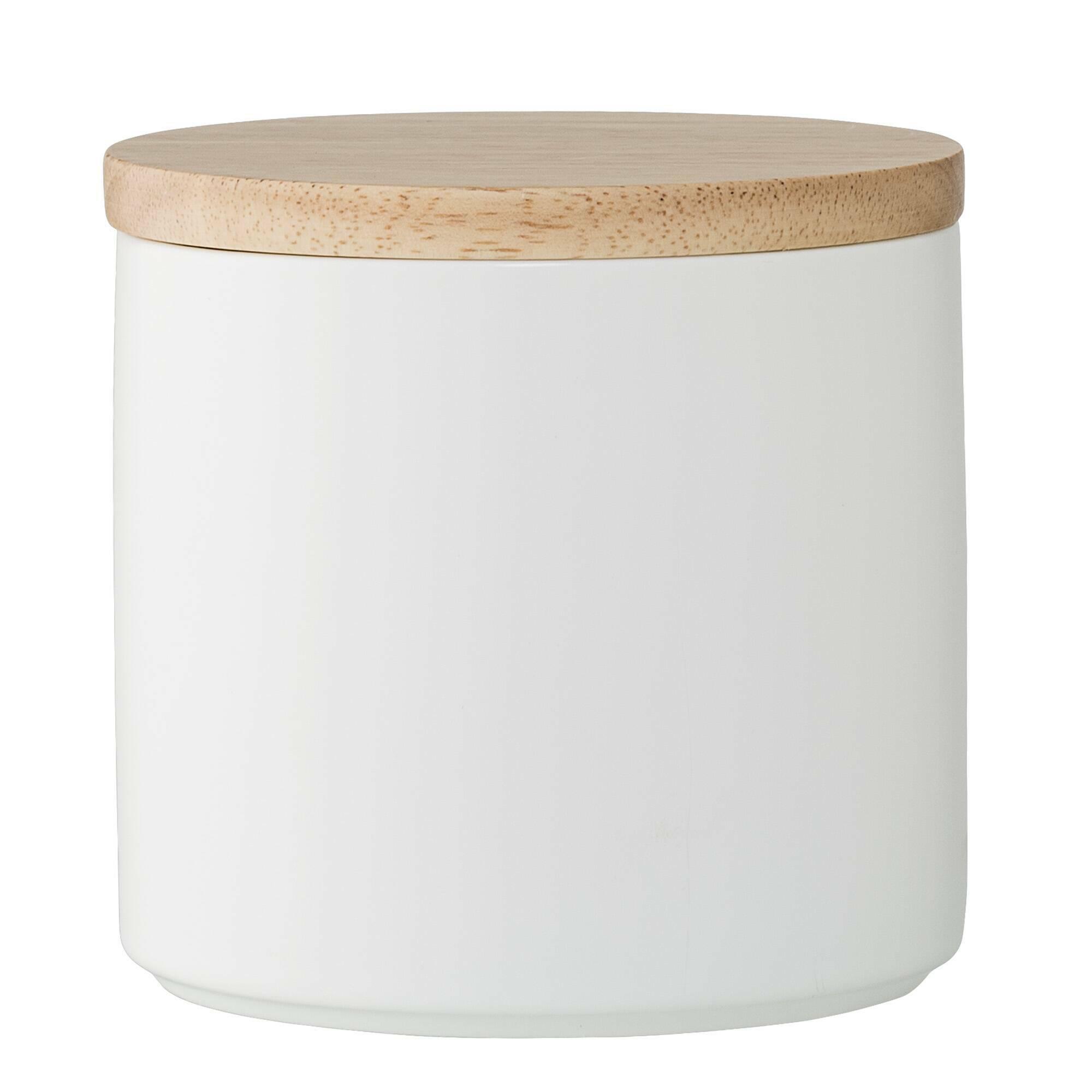 Купить Емкость для хранения с крышкой Wood & White, Bloomingville, Белый, Фарфор