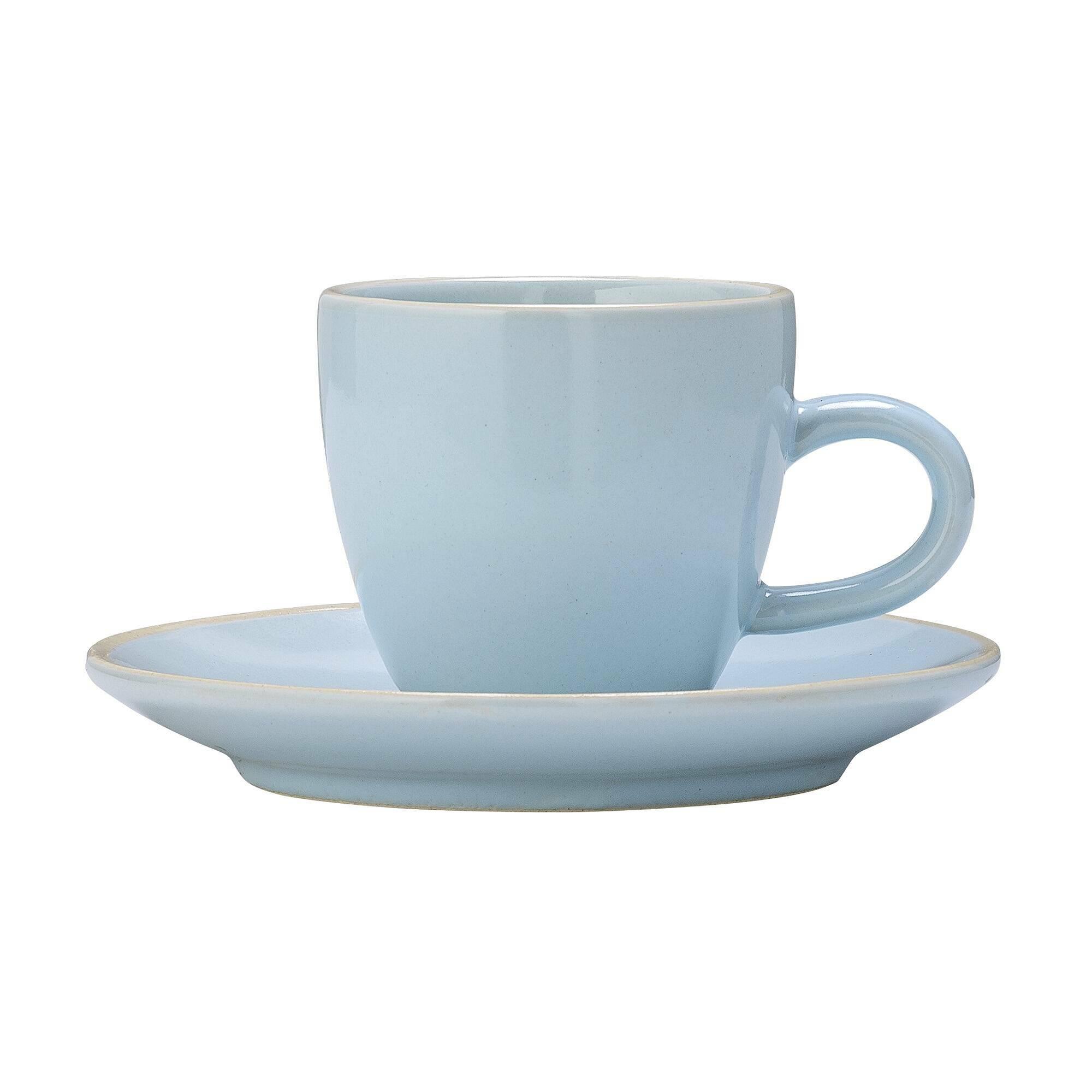 Чашка с блюдцем Bloomingville голубаяПосуда<br><br><br>stock: 1<br>Высота: 5,5<br>Материал: Керамика<br>Цвет: Голубой<br>Диаметр: 8; 11,5
