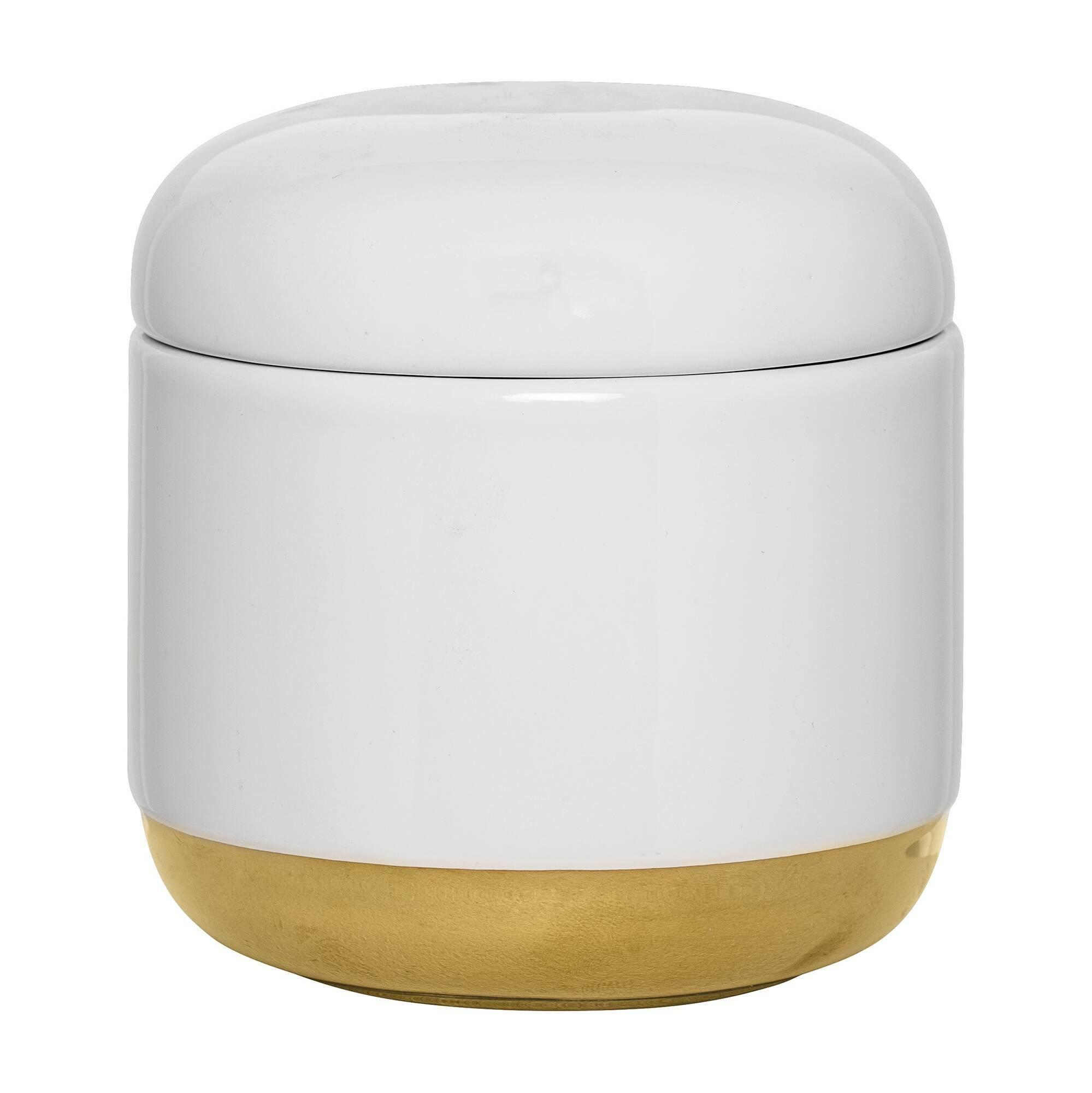 Емкость для хранения с крышкой White &amp; GoldРазное<br><br><br>stock: 1<br>Высота: 11<br>Материал: Керамика<br>Цвет: Белый<br>Диаметр: 10,5