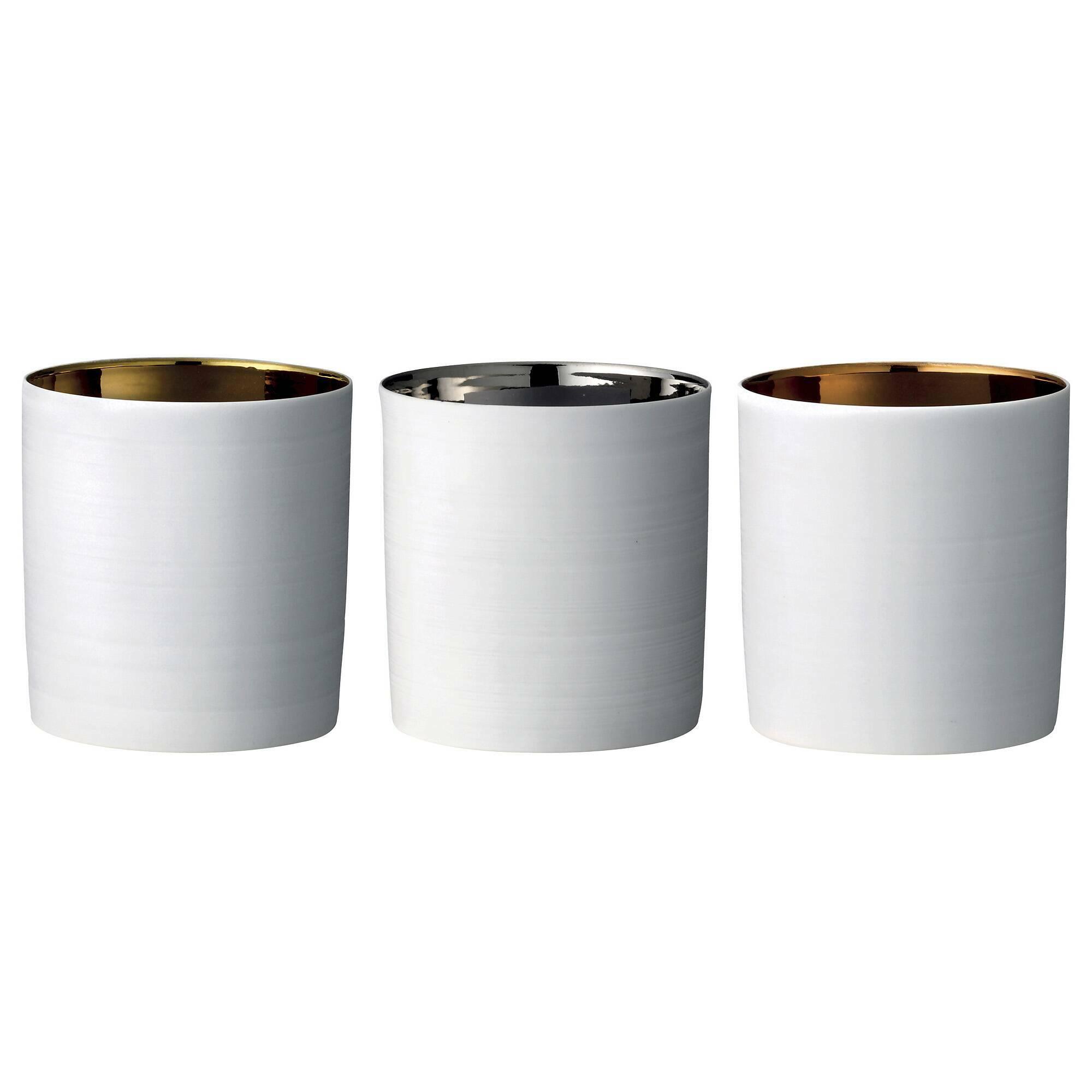 Набор из 3 подсвечниковПодсвечники и свечи<br><br><br>stock: 1<br>Высота: 8<br>Материал: Фарфор<br>Цвет: Белый<br>Диаметр: 7