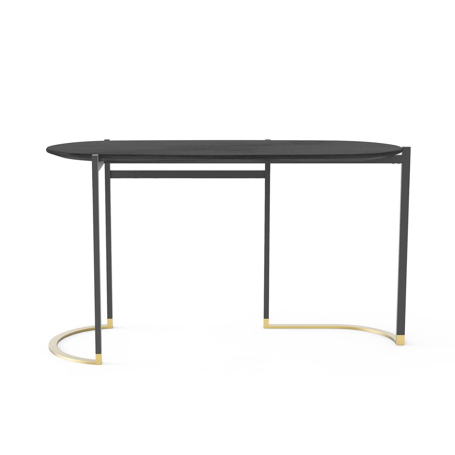 Консоль BlinkРабочие столы<br>Отличительная особенность этой модели в ее простом, но «вкусном» дизайне. Каждая деталь продумана, цветовая палитра изделия призвана украсить собой домашний интерьер. Консоль Blink – результат стараний дизайнеров компании Stellar Works, которые концентрируются не только на функциональности, но и на утонченной красоте своих изделий.<br><br><br> Для изготовления консоли Blink берутся высококачественные материалы, что позволяет не сомневаться в ее долговечности и надежности. В качестве опоры – пр...<br><br>stock: 0<br>Высота: 75<br>Ширина: 51<br>Длина: 134<br>Цвет ножек: Черный, Латунь<br>Цвет столешницы: Черный<br>Материал столешницы: Шпон ясеня<br>Тип материала столешницы: Дерево<br>Тип материала ножек: Сталь