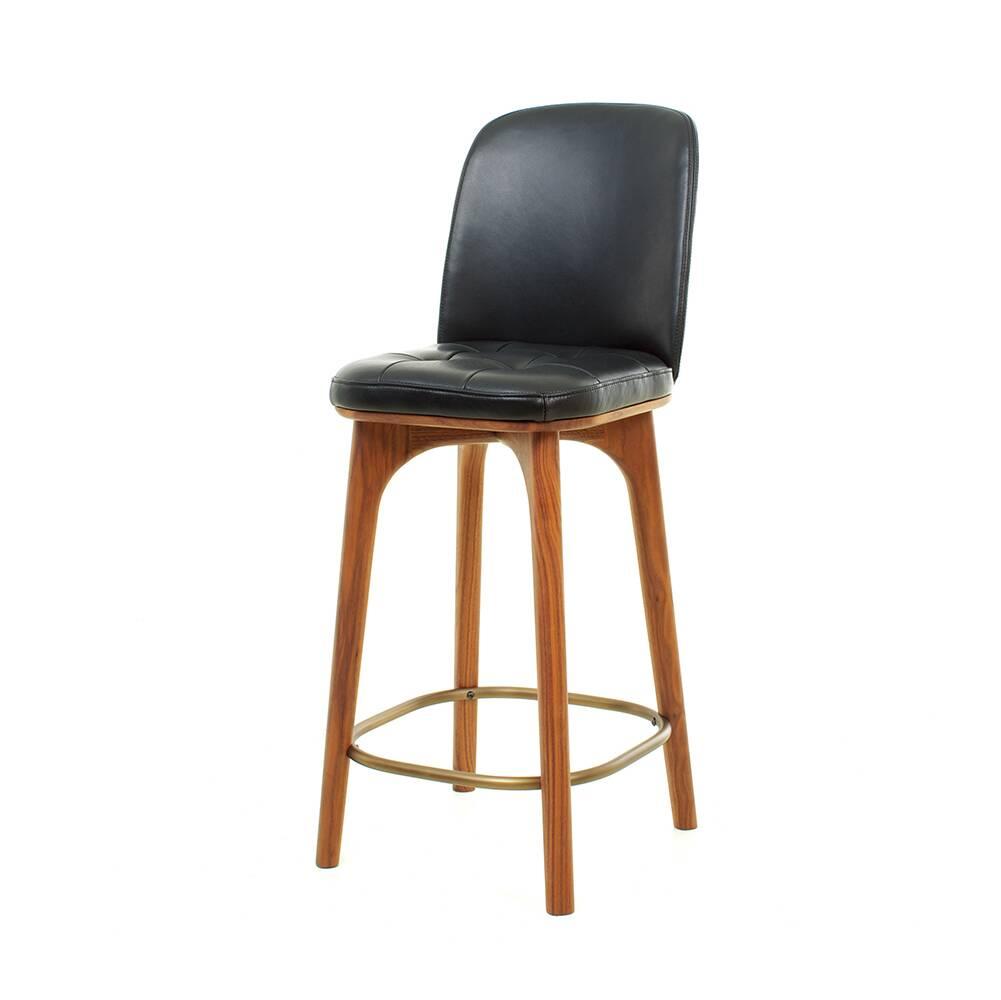 Полубарный стул Utility 2 со спинкой высота 61Полубарные<br>Коллекция Utility от компании Stellar Works состоит из потрясающе красивых изделий, спроектированных в классическом стиле. Элементы интерьера из кожи и натурального дерева всегда обладают притягательной внешностью и удивляют нас своей способностью преображать интерьер, делать его более благородным и, в то же время, по-современному стильным. Полубарный стул Utility 2 со спинкой высота 61 – прекрасный тому пример.<br><br><br> Эта модель стула представляет собой великолепное сочетание натуральной...<br><br>stock: 0<br>Высота: 92,3<br>Высота сиденья: 61<br>Ширина: 37<br>Глубина: 44,5<br>Цвет ножек: Орех<br>Материал ножек: Массив ясеня<br>Цвет сидения: Черный<br>Тип материала сидения: Кожа<br>Коллекция ткани: CARESS<br>Тип материала ножек: Дерево