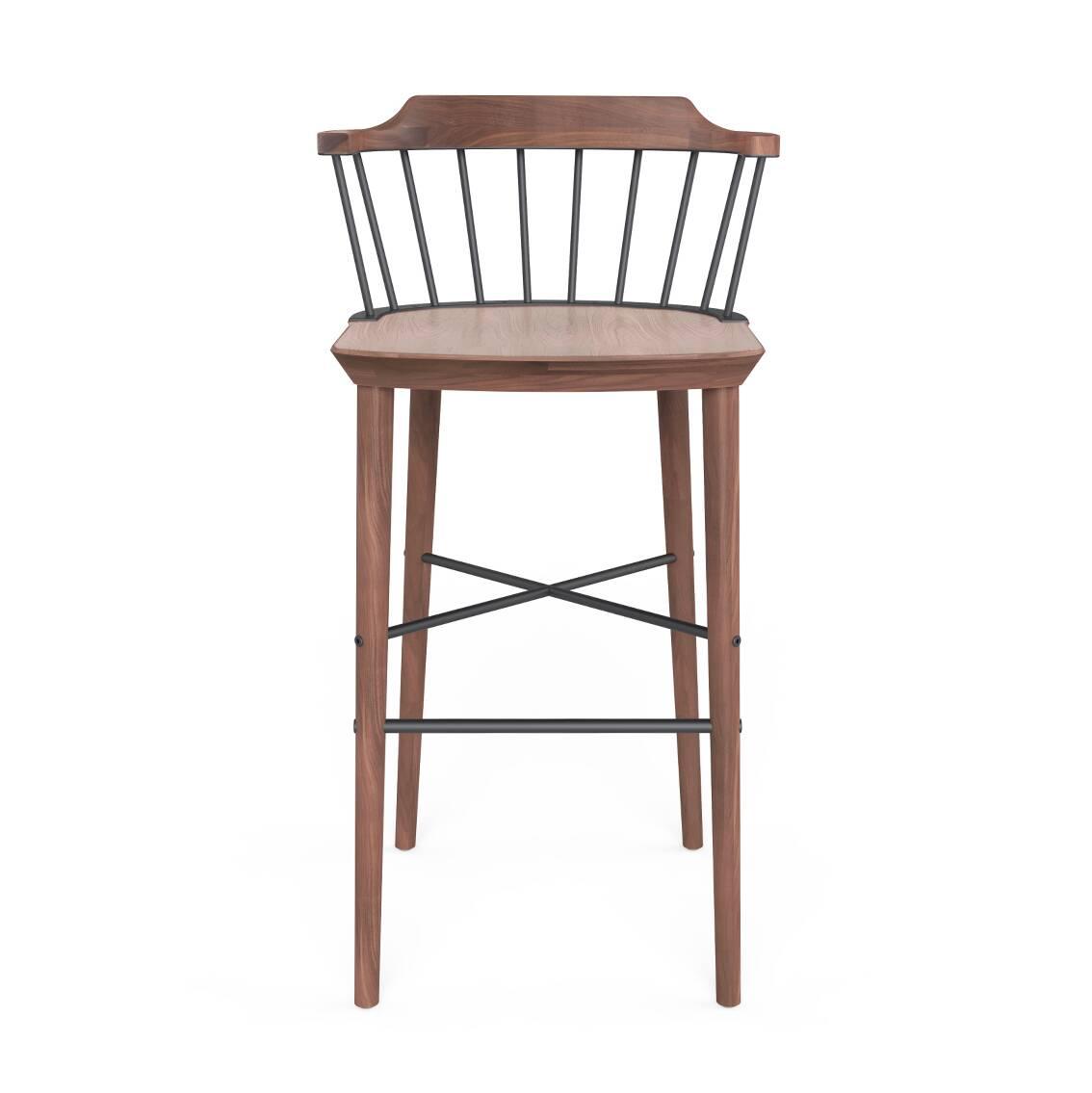 Полубарный стул ExchangeПолубарные<br>Полубарные стулья все активнее набирают популярность в дизайне современных кухонных комнат. И не зря! Такие предметы домашнего интерьера необычайно удобны и функциональны, и к тому же они могут считаться той самой изюминкой в привычной обстановке домашней кухни. Полубарный стул Exchange от компании Stellar Works обладает универсальным, но очень интересным дизайном – в нем тесно переплетаются черты консерватизма и самых современных интерьерных стилей.<br><br><br> Проектировщики выбрали один из ...<br><br>stock: 0<br>Высота: 86,4<br>Высота сиденья: 61<br>Ширина: 52,6<br>Глубина: 50,6<br>Цвет спинки: Черный<br>Материал каркаса: Массив ореха<br>Тип материала каркаса: Дерево<br>Тип материала спинки: Сталь<br>Цвет каркаса: Орех
