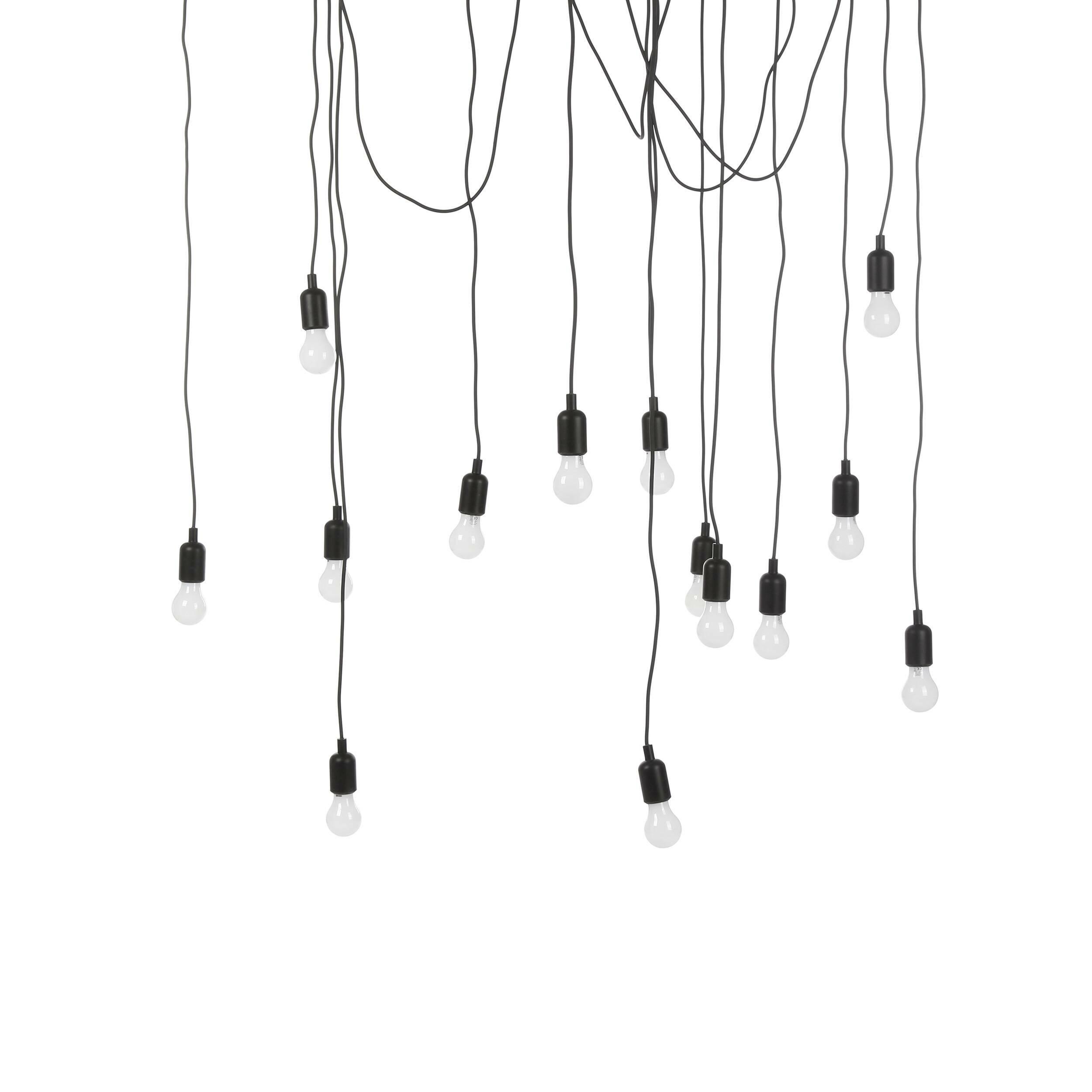 Подвесной светильник Maman IПодвесные<br>Создайте драматичный акцент с помощью подвесного светильника Maman I. В комплект входят 14 LED-ламп, а также 7 трехметровых и 7 четырехметровых черных кабелей. Расположить их можно как угодно в зависимости от личных предпочтений и дизайнерской задумки — создайте изогнутую линию кабеля или же подвесьте их как пучок. А вот что касается стилевой принадлежности подходящих для него интерьеров, то тут можно изрядно поломать голову. Авангард, лофт, конструктивизм и, разумеется, эклектика — вот те из...<br><br>stock: 6<br>Количество ламп: 14<br>Цвет провода: Черный