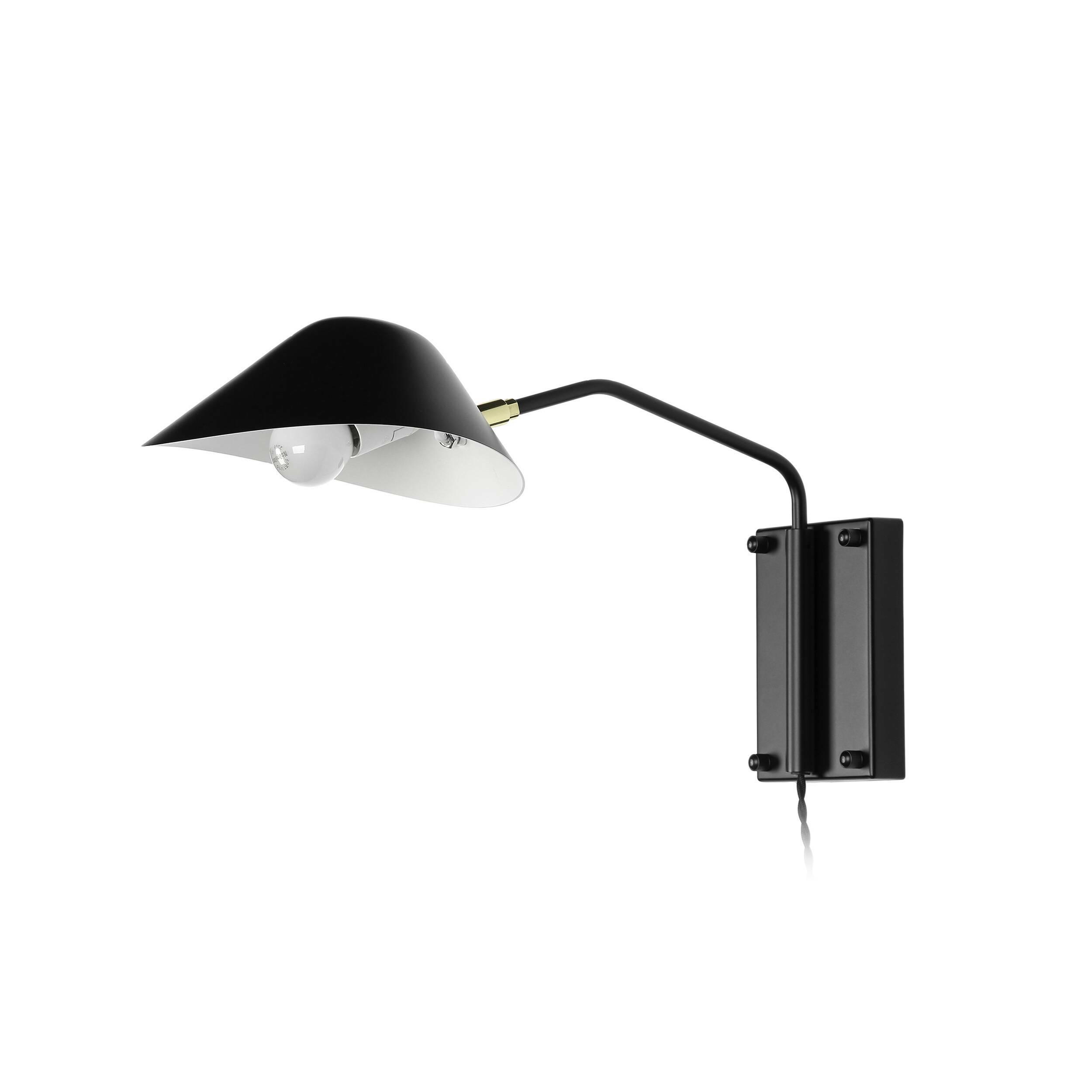 Настенный светильник Collet длина штанги 49Настенные<br>Лофт подразумевает наличие в интерьере грубоватых форм и голых стен. Но такая обстановка не была бы столь привлекательной, если бы этот чердачный стиль не украшался самыми современными, функциональными элементами, например красивыми и качественными источниками освещения. Настенный светильник Collet длина штанги 49 представляет собой как раз такое элегантное дополнение, которое придает лофт-пространству необыкновенное очарование и шарм.<br><br><br> Светильник особенно привлекателен продуманным ди...<br><br>stock: 1<br>Высота: 28,5<br>Длина: 49<br>Количество ламп: 1<br>Материал абажура: Алюминий<br>Материал арматуры: Металл<br>Мощность лампы: 60<br>Ламп в комплекте: Нет<br>Тип лампы/цоколь: E14<br>Цвет абажура: Черный<br>Цвет арматуры: Черный