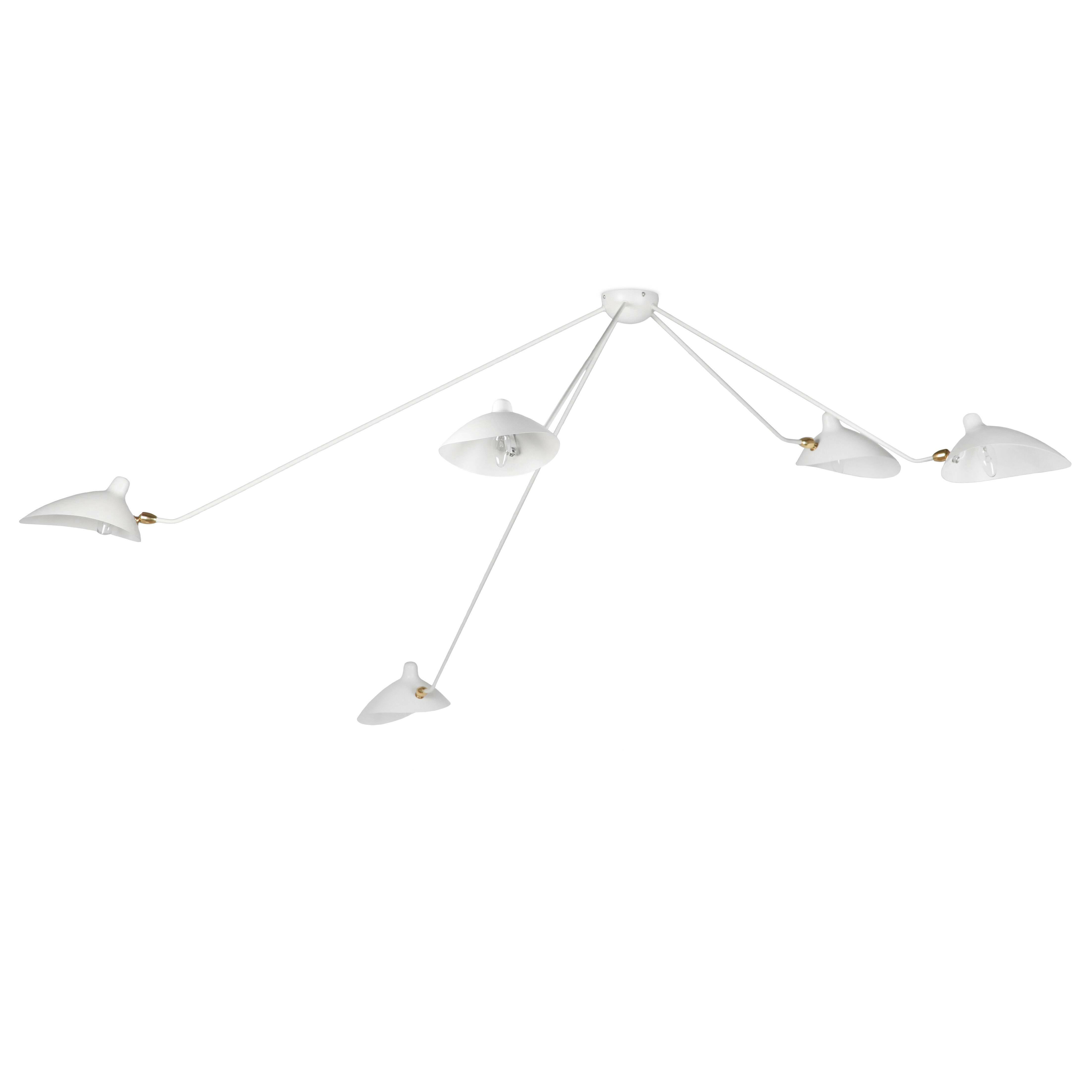 Потолочный светильник Spider 5 лампПотолочные<br>Потолочный светильник Spider 5 ламп — это большая модель потолочного светильника, созданного в 1953 году французским промышленным дизайнером Сержем Муем.<br><br><br> Серж Муй — один из самых известных и титулованных дизайнеров своего времени. Спустя два года после создания этого светильника он стал членом Общества художников и Французского национального художественного общества, завоевал множество наград, а сейчас его работы выставляются в галерее Стефа Симона в Париже. Коллекция, к которой при...<br><br>stock: 1<br>Высота: 85<br>Длина: 258<br>Количество ламп: 5<br>Материал абажура: Металл<br>Материал арматуры: Сталь<br>Мощность лампы: 60<br>Ламп в комплекте: Нет<br>Напряжение: 220-240<br>Тип лампы/цоколь: E14<br>Цвет абажура: Белый<br>Цвет арматуры: Белый