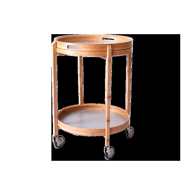 Кофейный стол Roca на колесахКофейные столики<br>Если в обычных кофейных столиках вам не хватает практичности и мобильности, то вашему вниманию предлагается кофейный стол Roca на колесах. Стол обладает компактным размером, его можно использовать как в больших, так и в маленьких комнатах, его легко перемещать по узкому коридору. Изделие оснащено удобными колесиками – достаточно большими, чтобы преодолевать препятствия в виде небольших порогов или напольных покрытий.<br><br><br> Еще одним значительным плюсом стола является его съемная столешни...<br><br>stock: 15<br>Высота: 60<br>Диаметр: 49<br>Материал каркаса: Бамбук<br>Цвет каркаса: Коричневый
