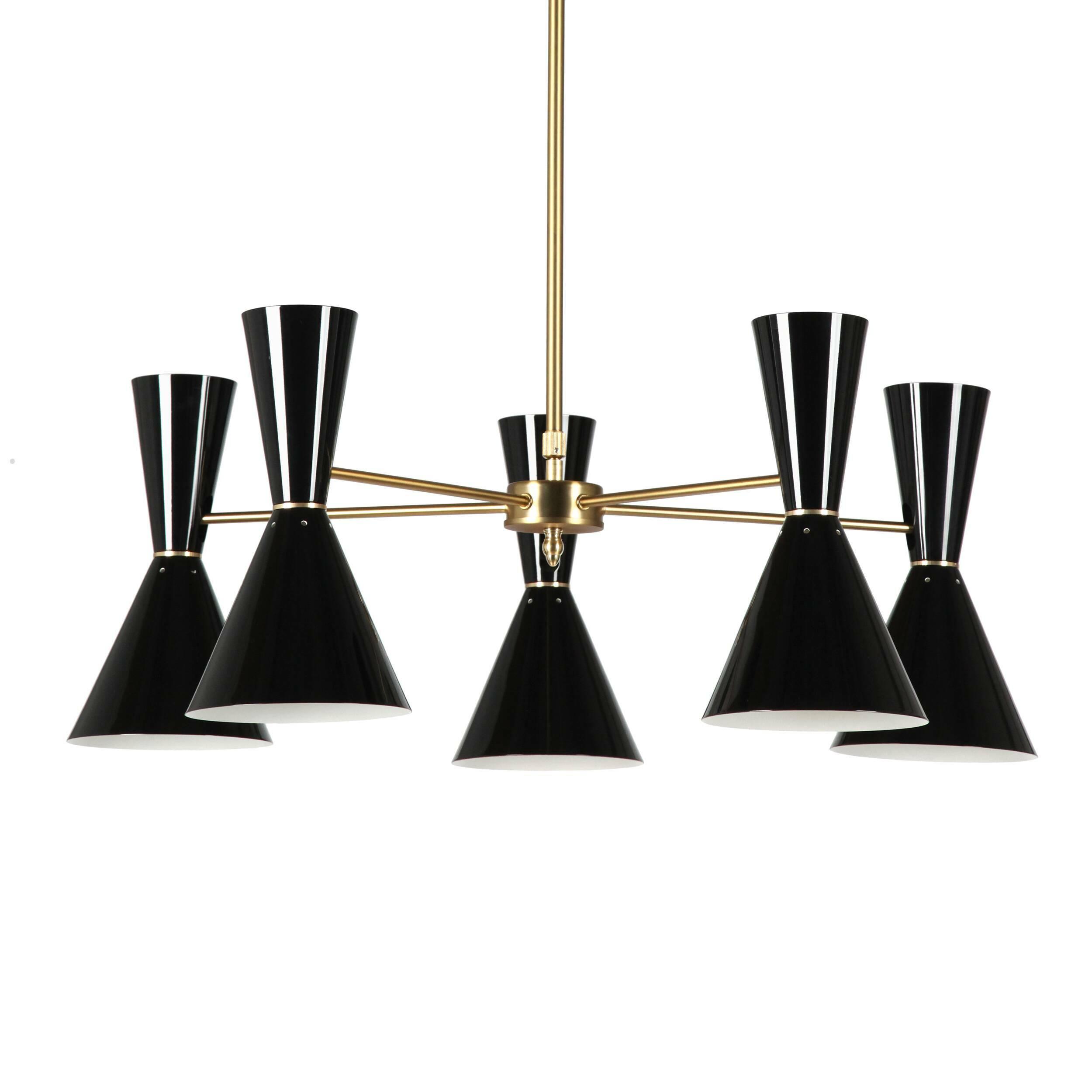 Потолочный светильник Stilnovo Style 5 лампПотолочные<br>Потолочный светильник Stilnovo Style 5 ламп — это яркий и веселый светильник американской компании Stilnovo, которая воспроизводит лампы самых известных дизайнеров XX века и создает новые необычные осветительные приборы.<br><br><br> Этот светильник отличается своим цветовым исполнением. Пять абажуров, выкрашенные в двух вариантах — черном и белом, обязательно будут поднимать вам настроение в холодный зимний день или дождливую пасмурную осеннюю погоду. Тонкие ножки напоминают лучи солнышка, кото...<br><br>stock: 6<br>Высота: 36<br>Диаметр: 76<br>Количество ламп: 5<br>Материал абажура: Сталь<br>Материал арматуры: Сталь<br>Мощность лампы: 60<br>Ламп в комплекте: Нет<br>Тип лампы/цоколь: E27<br>Цвет абажура: Черный<br>Цвет арматуры: Латунь
