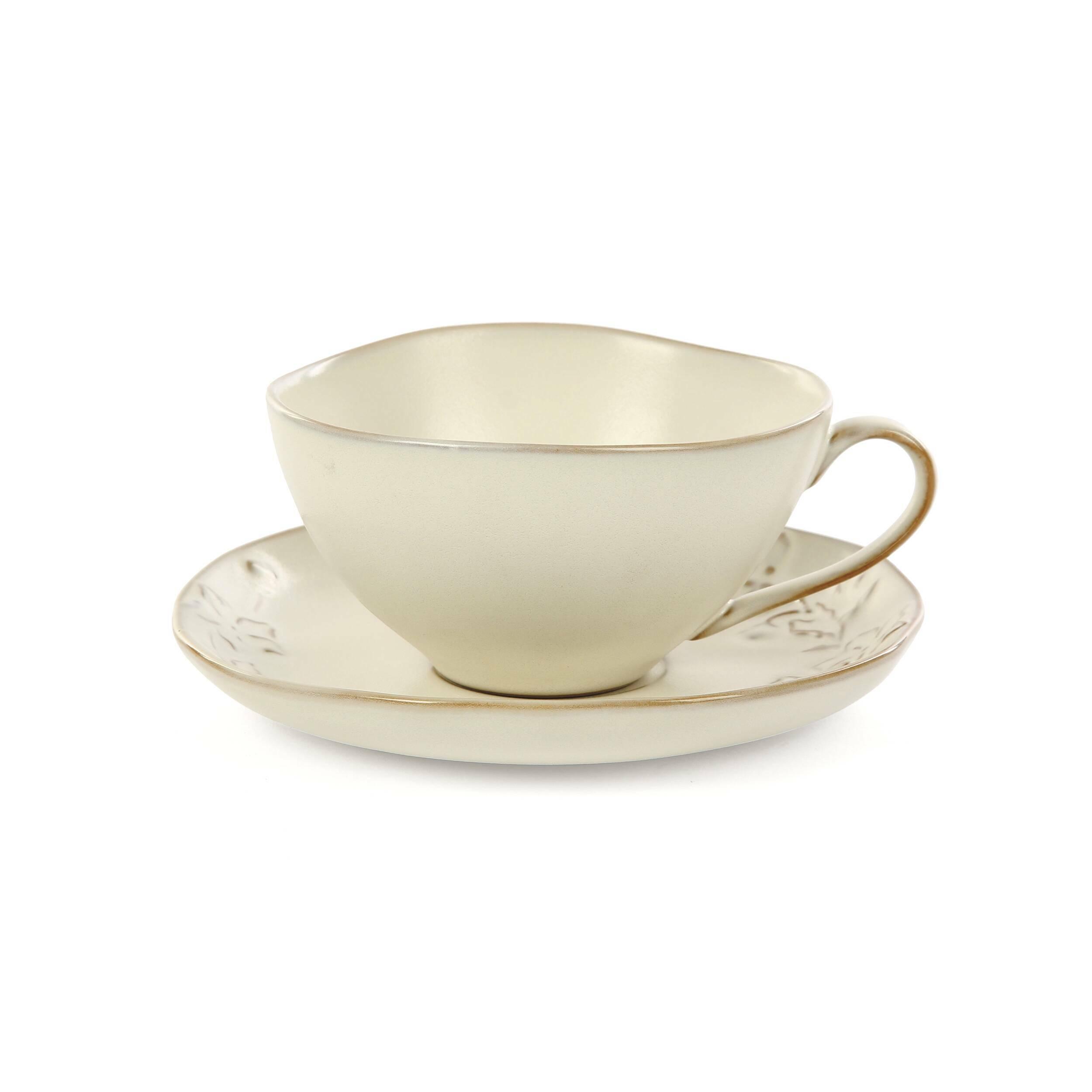 Купить Чашка с блюдцем Emperor's Bird, Cosmo, Кремовый, Глина