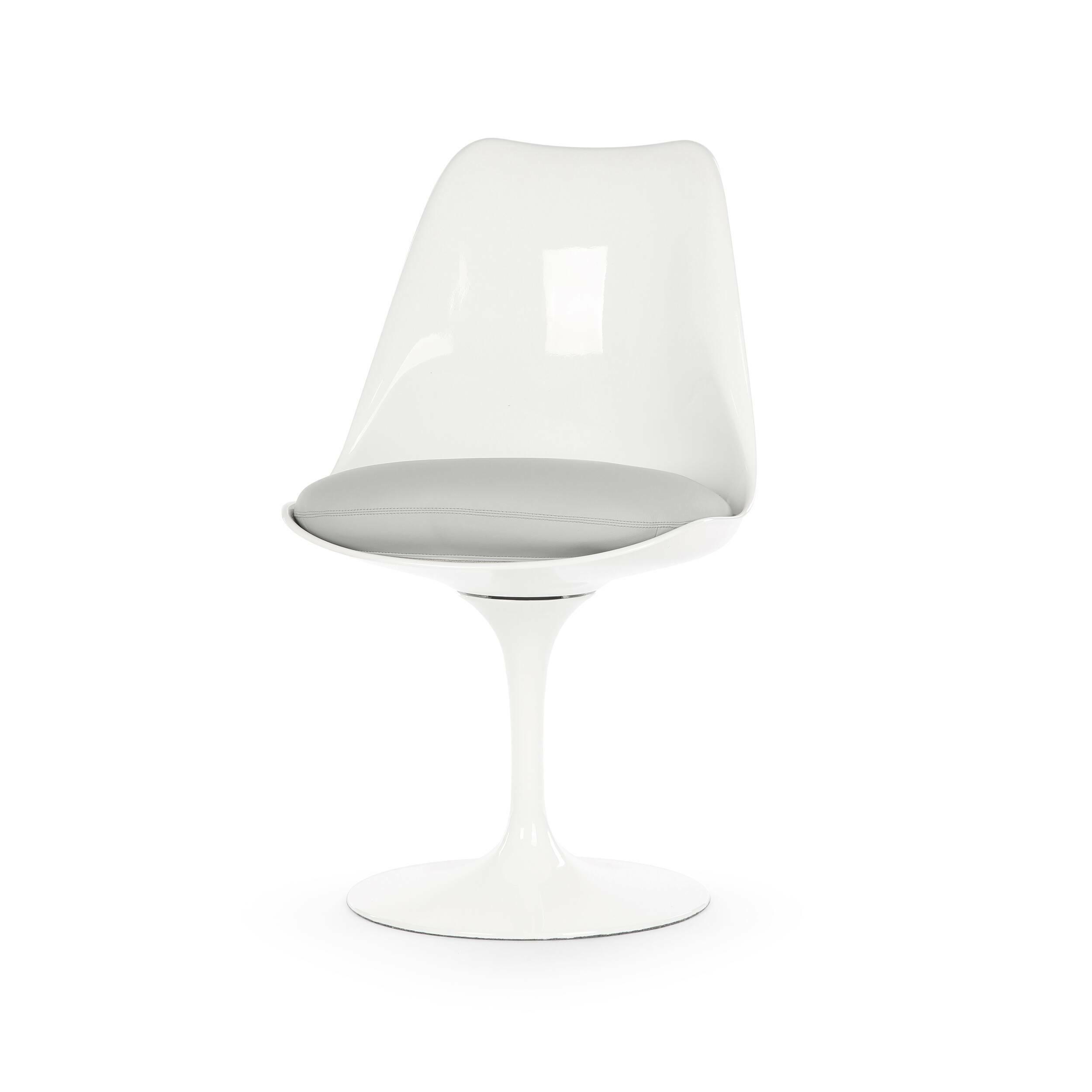 Стул TulipИнтерьерные<br>Дизайнерский стул Tulip (Тьюлип) из стекловолокна на алюминиевой ножке от Cosmo (Космо).<br><br> Стул Tulip — это один из самых знаменитых предметов мебели, он был разработан в 1958 году Ээро Саариненом. Поистине футуристический дизайн и классика модерна. Первый в мире одноногий стул изменил будущее дизайна мебели. Формой стул напоминает бокал или, как видно из названия, — тюльпан. Уникальное основание постамента обеспечивает устойчивость и выглядит эстетически привлекательным. Избавив стул от тр...<br><br>stock: 0<br>Высота: 81<br>Высота сиденья: 46<br>Ширина: 49,5<br>Глубина: 53<br>Цвет ножек: Белый глянец<br>Механизмы: Поворотная функция<br>Тип материала каркаса: Стекловолокно<br>Материал сидения: Полиуретан<br>Цвет сидения: Светло-серый<br>Тип материала сидения: Кожа искусственная<br>Коллекция ткани: Premium Grade PU<br>Тип материала ножек: Алюминий<br>Цвет каркаса: Белый глянец