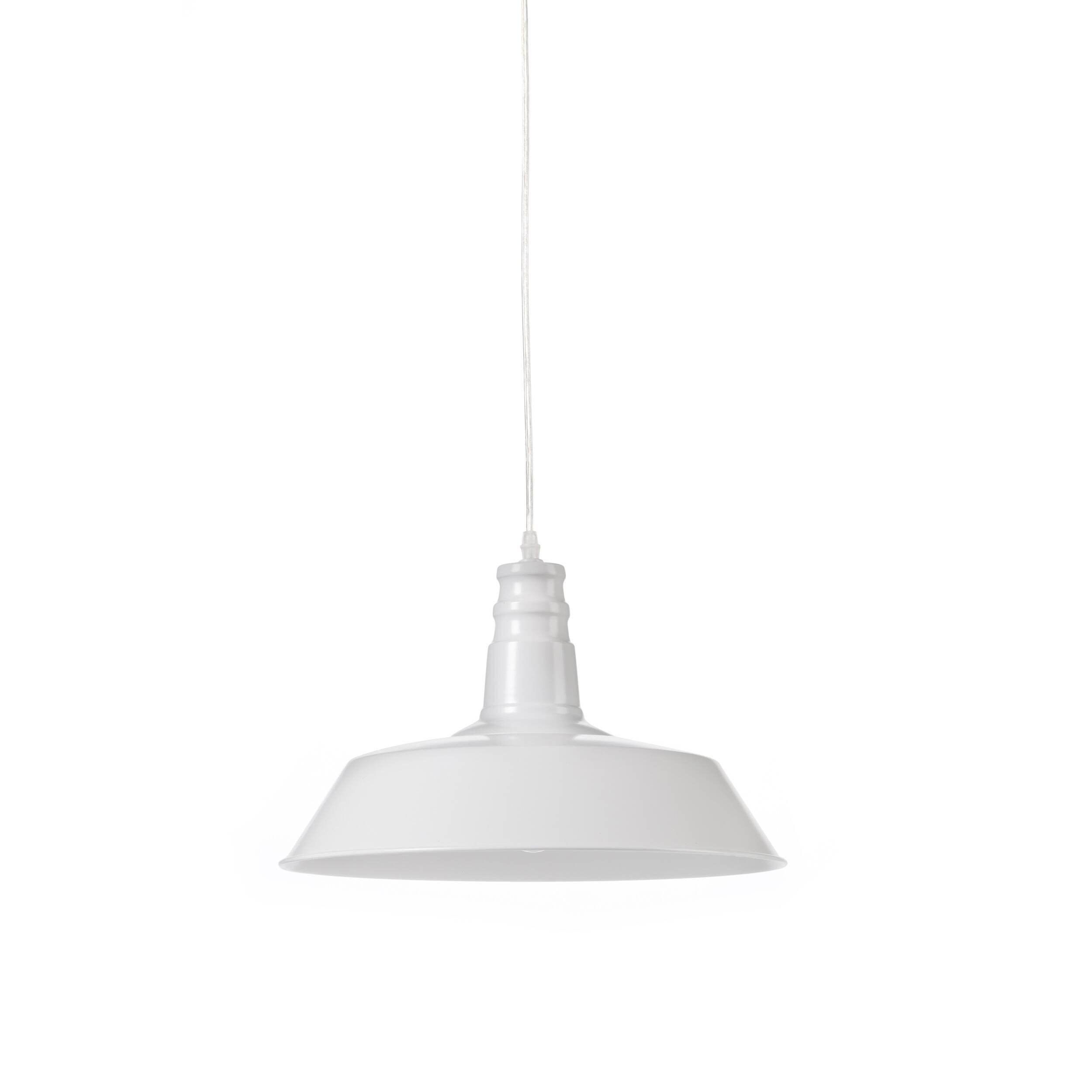Подвесной светильник Barn IndustrialПодвесные<br>Этот подвесной светильник сочетает в себе лаконичность и практичность. Прочные металлические детали подвесного светильника Barn Industrial внушают спокойствие и уверенность.<br><br><br> Подвесной светильник Barn Industrial идеально подходит для использования в рамках индустриального стиля, для освещения баров, коворкингов, лофтов и других просторных помещений, которым подошло бы оформление в модном сегодня стиле стимпанк.<br><br>stock: 0<br>Высота: 26<br>Длина: 36<br>Длина провода: 150<br>Количество ламп: 1<br>Материал абажура: Сталь<br>Мощность лампы: 40<br>Ламп в комплекте: Нет<br>Напряжение: 220<br>Тип лампы/цоколь: E27<br>Цвет абажура: Белый<br>Цвет провода: Черный