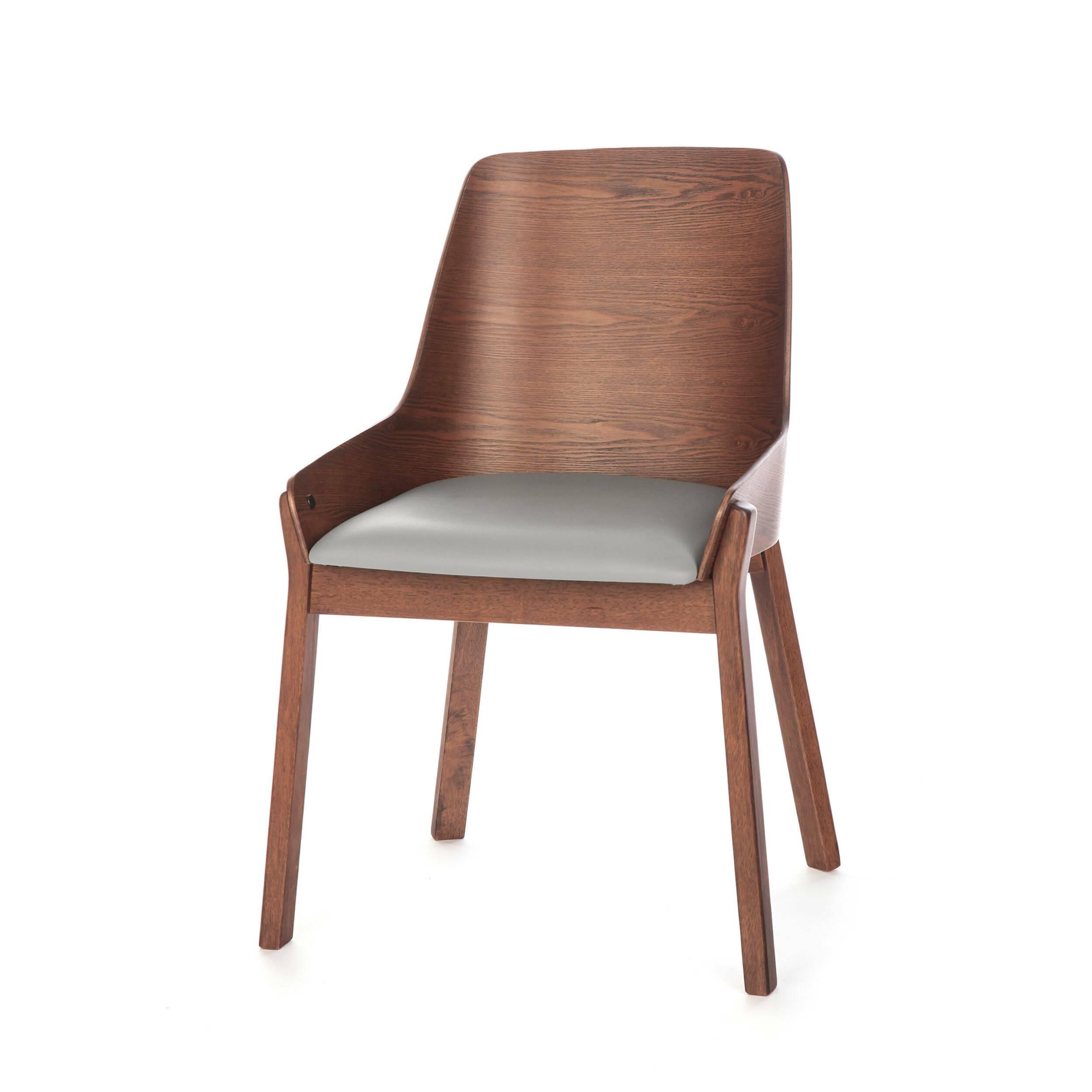 Стул Safia с мягким сиденьемИнтерьерные<br>Простой и элегантный стул Safia с мягким сиденьем идеально подходит для офисных помещений или для домашнего кабинета. Он выполнен в деловом стиле и обладает строгой цветовой палитрой. Модель особенно привлекательна своей высокой спинкой и мягким сиденьем, эта конструкция поможет снять напряжение и сохранит здоровую осанку.<br><br><br> Изделие создается из надежных, практичных материалов. Такая основа обеспечивает ему долгий срок службы даже при постоянном использовании в различных заведениях о...<br><br>stock: 81<br>Высота: 86<br>Ширина: 57,5<br>Глубина: 57<br>Цвет ножек: Орех<br>Цвет спинки: Орех<br>Материал ножек: Массив ясеня<br>Материал спинки: Фанера, шпон ясеня<br>Цвет сидения: Серый<br>Тип материала спинки: Фанера<br>Тип материала сидения: Поливинилхлорид<br>Тип материала ножек: Дерево