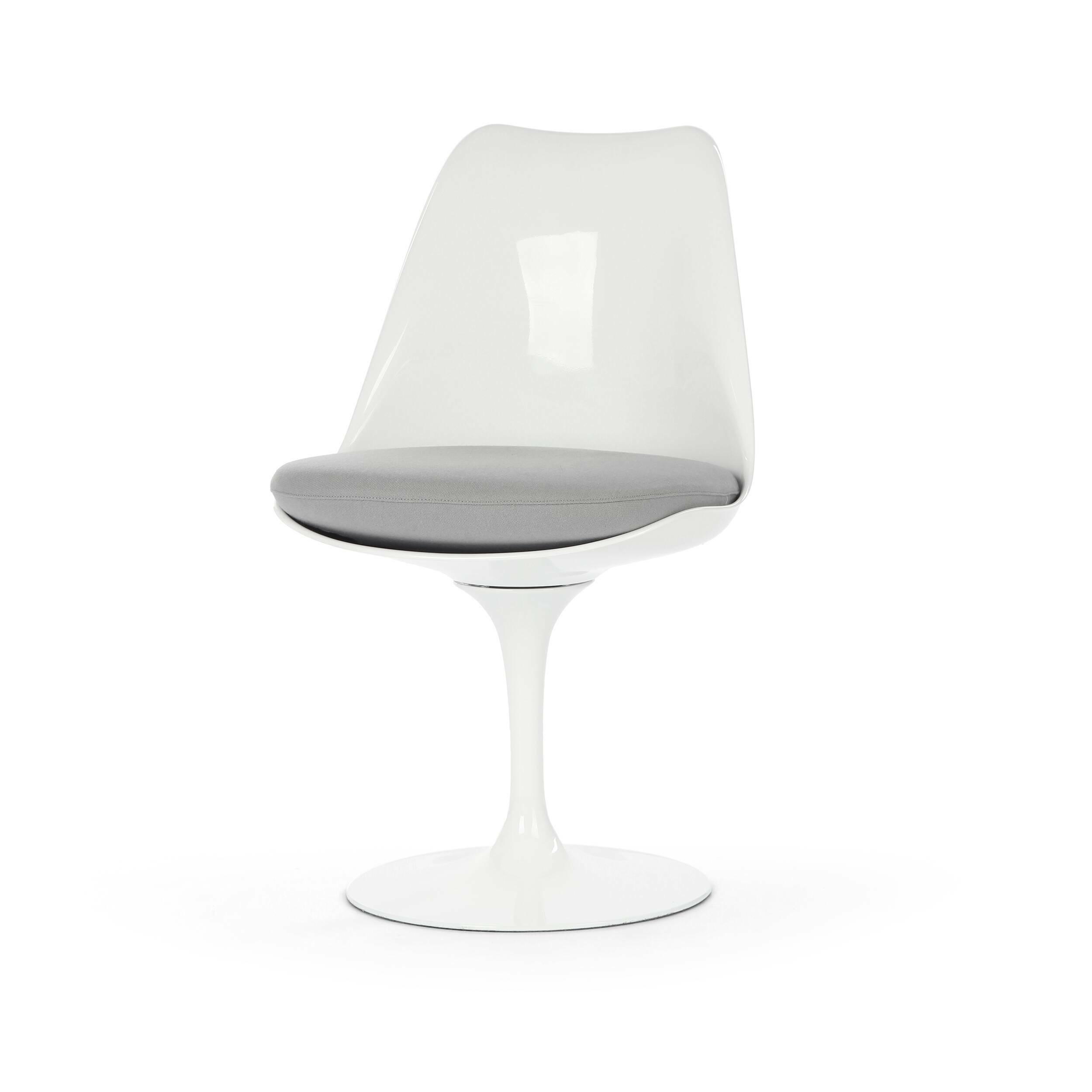 Стул TulipИнтерьерные<br>Дизайнерский стул Tulip (Тьюлип) из стекловолокна на алюминиевой ножке от Cosmo (Космо).<br><br> Стул Tulip — это один из самых знаменитых предметов мебели, он был разработан в 1958 году Ээро Саариненом. Поистине футуристический дизайн и классика модерна. Первый в мире одноногий стул изменил будущее дизайна мебели. Формой стул напоминает бокал или, как видно из названия, — тюльпан. Уникальное основание постамента обеспечивает устойчивость и выглядит эстетически привлекательным. Избавив стул от тр...<br><br>stock: 3<br>Высота: 81<br>Высота сиденья: 46<br>Ширина: 49,5<br>Глубина: 53<br>Цвет ножек: Белый глянец<br>Механизмы: Поворотная функция<br>Тип материала каркаса: Стекловолокно<br>Материал сидения: Шерсть, Нейлон<br>Цвет сидения: Светло-серый<br>Тип материала сидения: Ткань<br>Коллекция ткани: T Fabric<br>Тип материала ножек: Алюминий<br>Цвет каркаса: Белый глянец